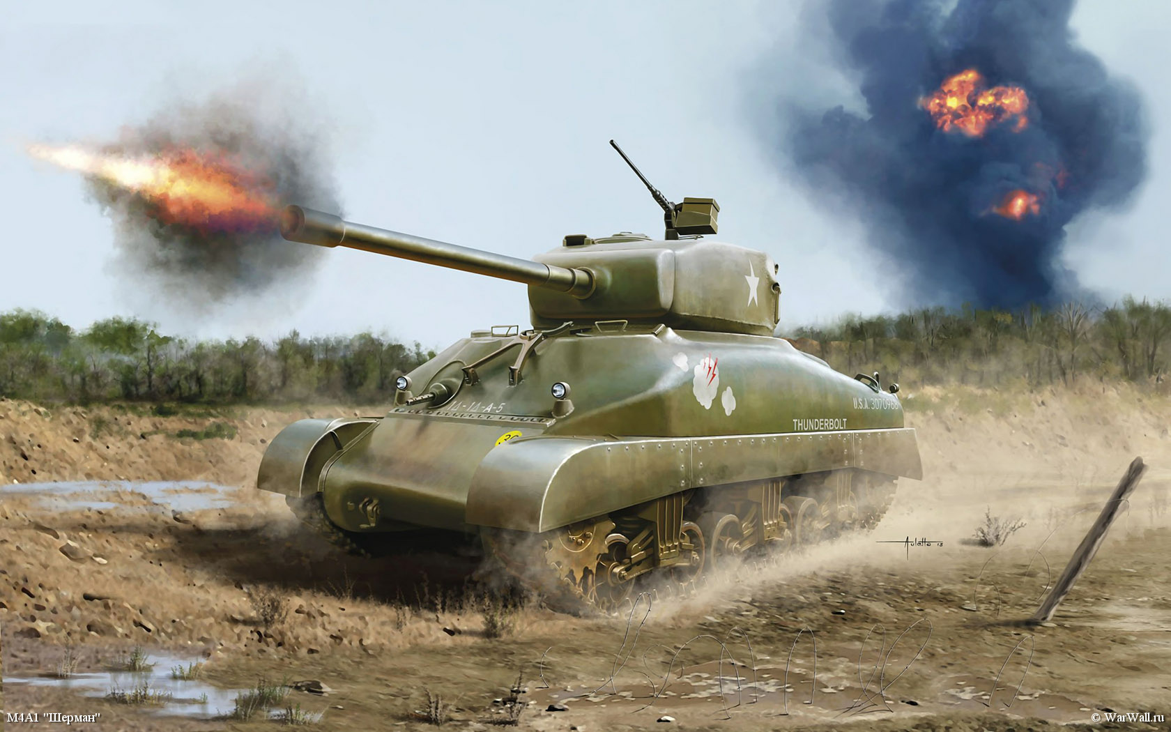 рисунок 03196 M4A1 Sherman