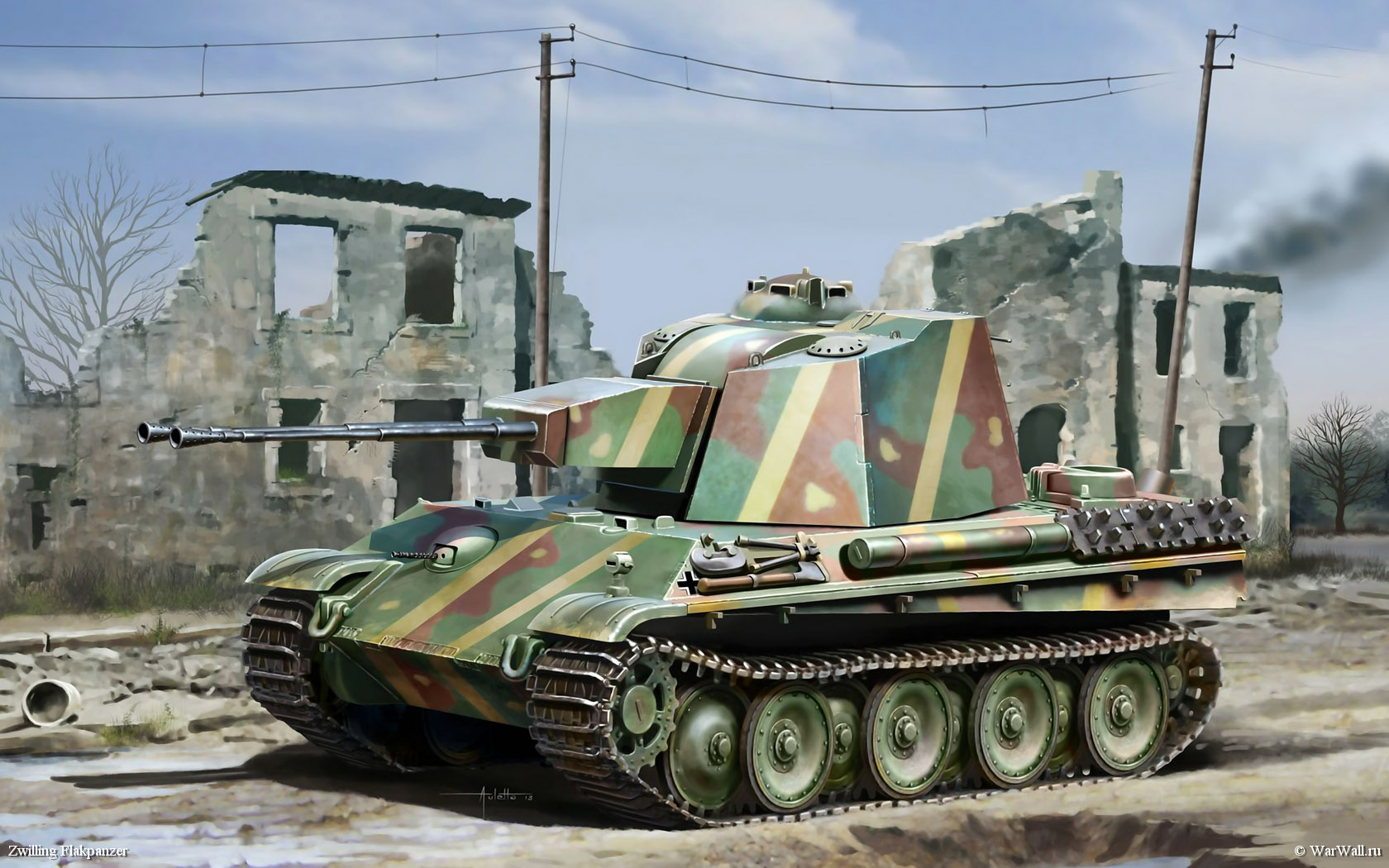 рисунок 7488 5.5cm Zwilling Flakpanzer