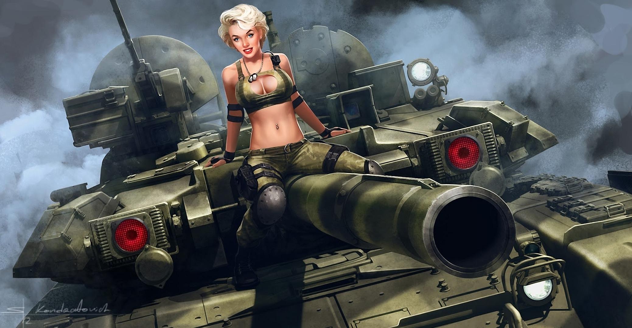 девушка на танке