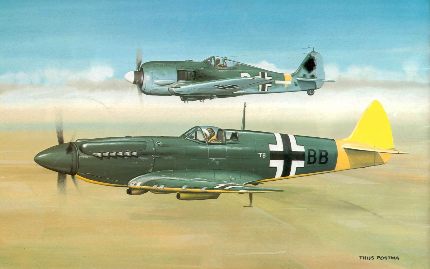 рисунок Focke-Wulf-190A-6 und Spitfire IX