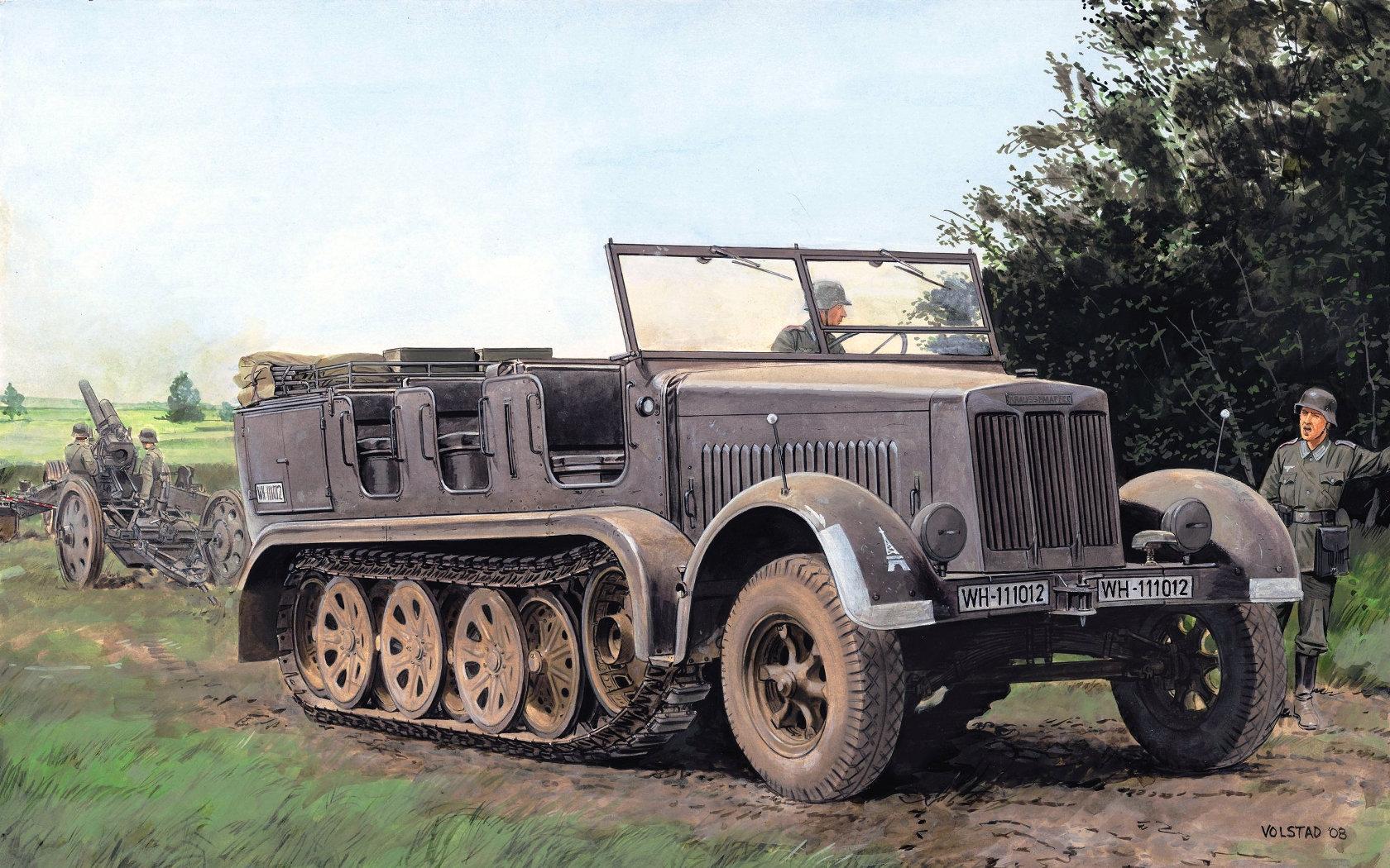 рисунок Полугусеничный тягач Sd.Kfz. 7