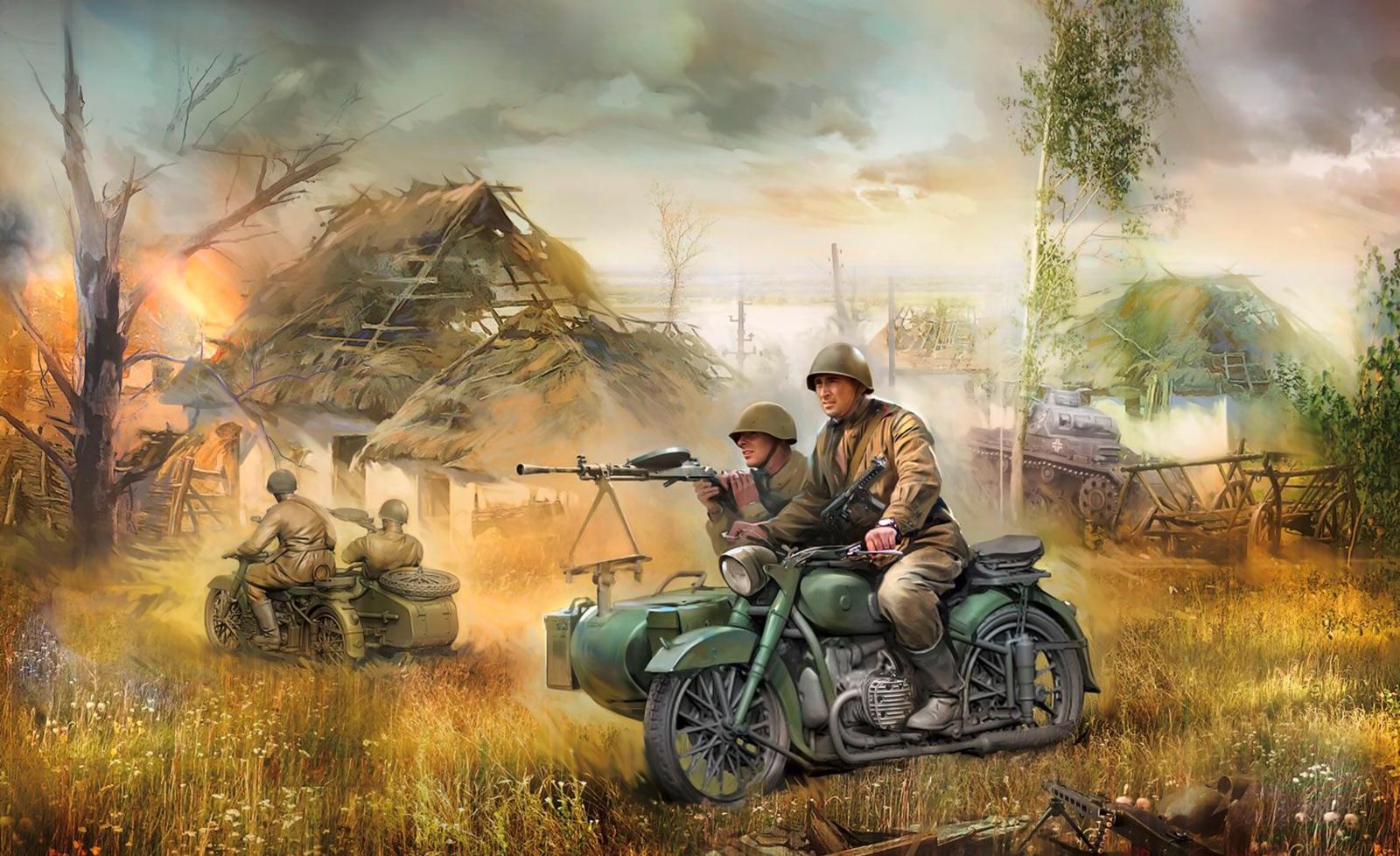 рисунок Советский мотоцикл М-72
