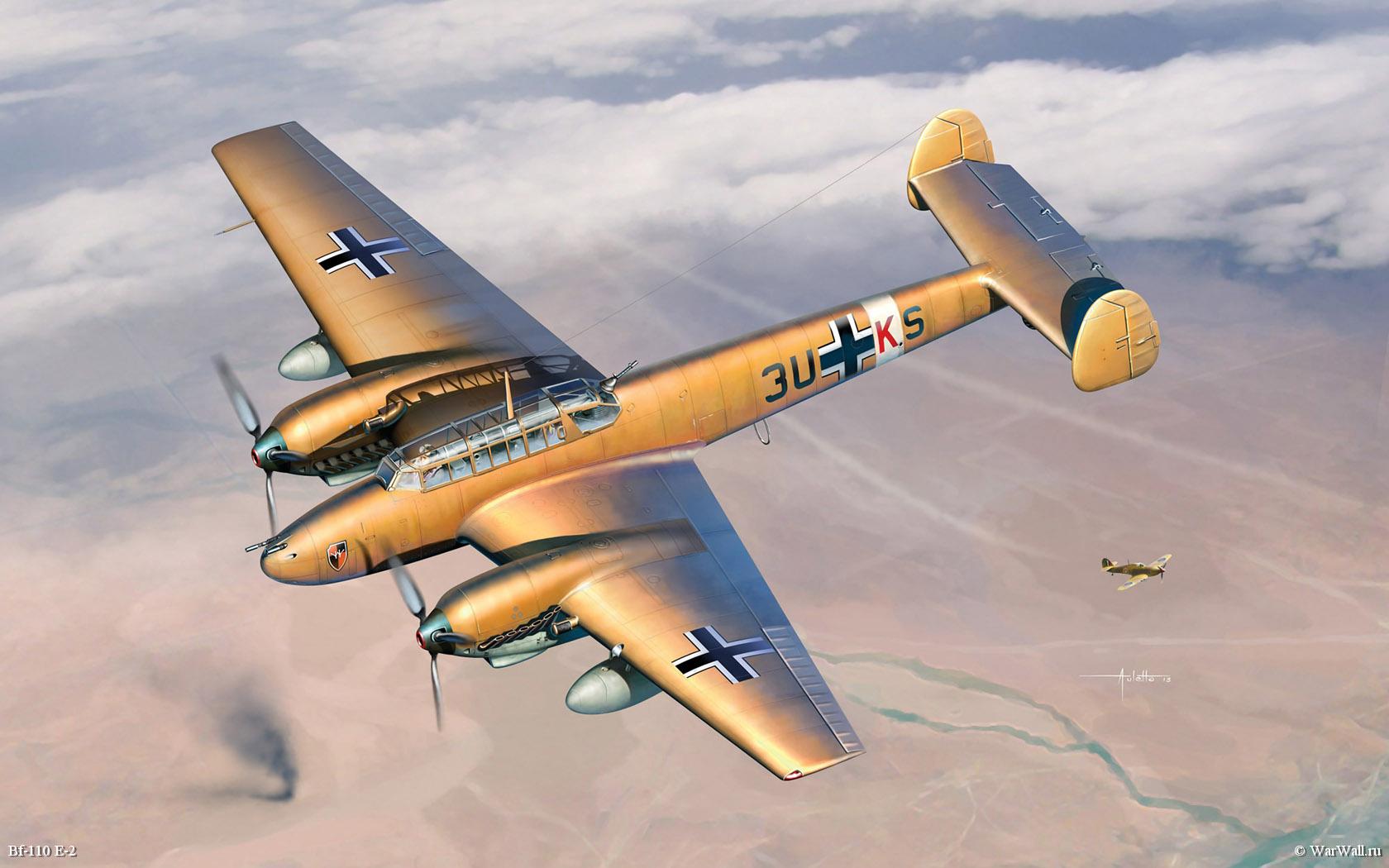 110 Wallpapers 2: Рисунок 3209 Messerschmitt Bf-110 E-2 Trop на рабочий стол