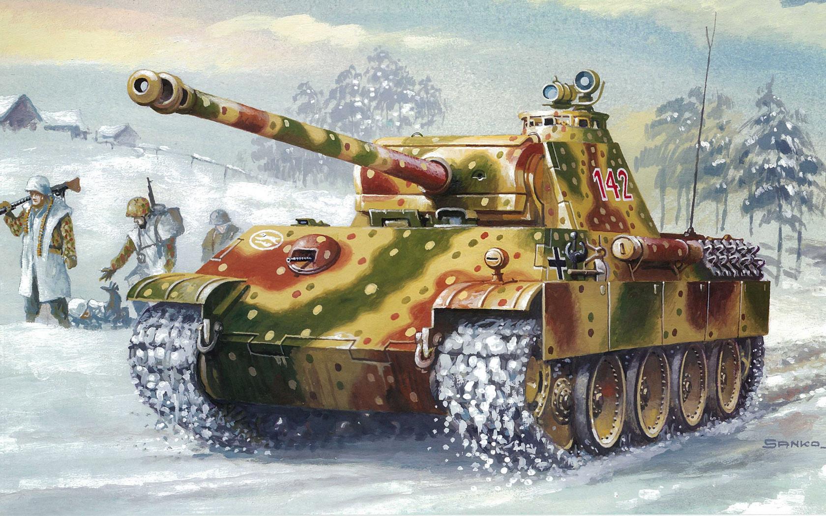 рисунок Тяжелый танк Panther Ausf G