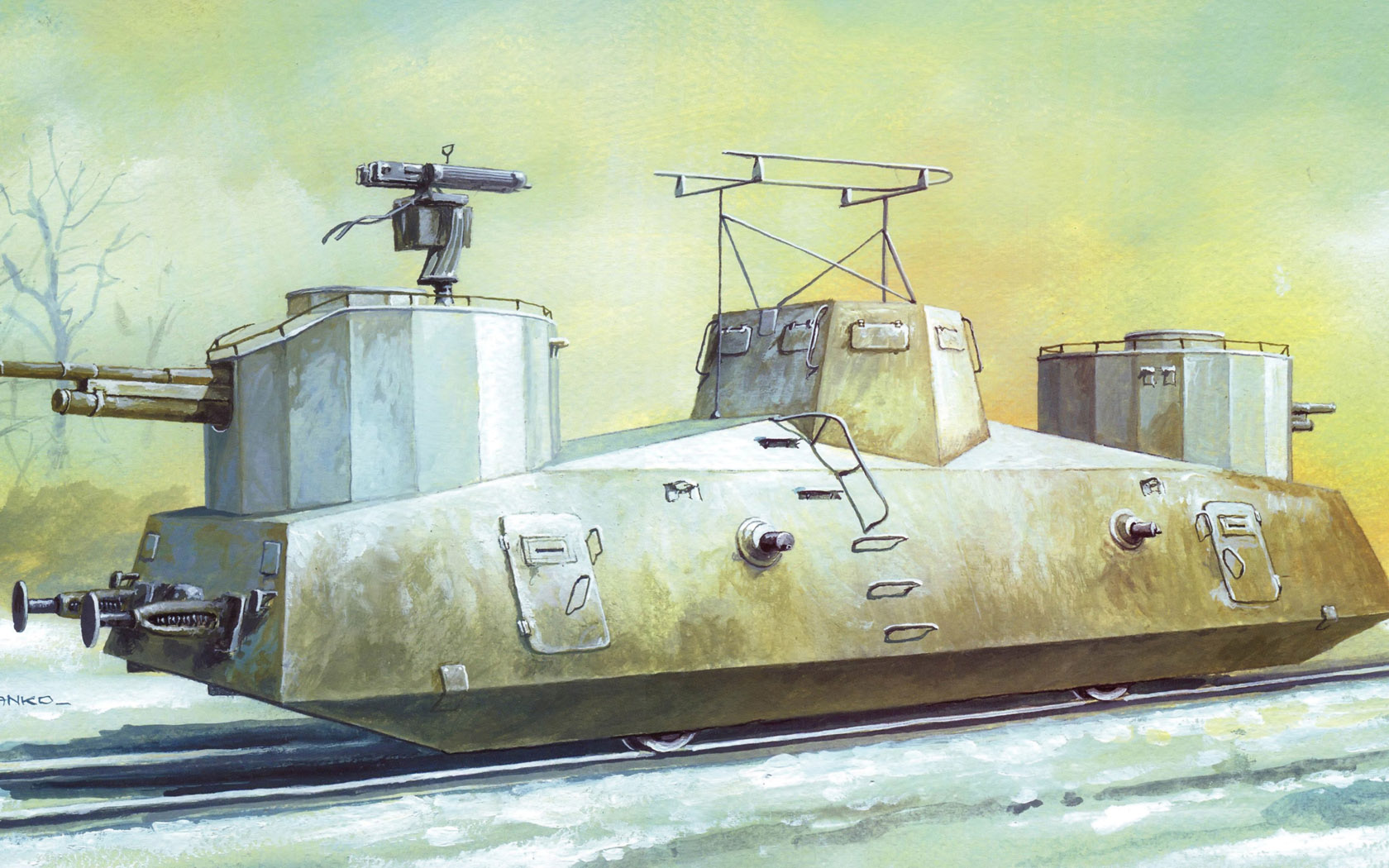 рисунок Броневагон Д-2