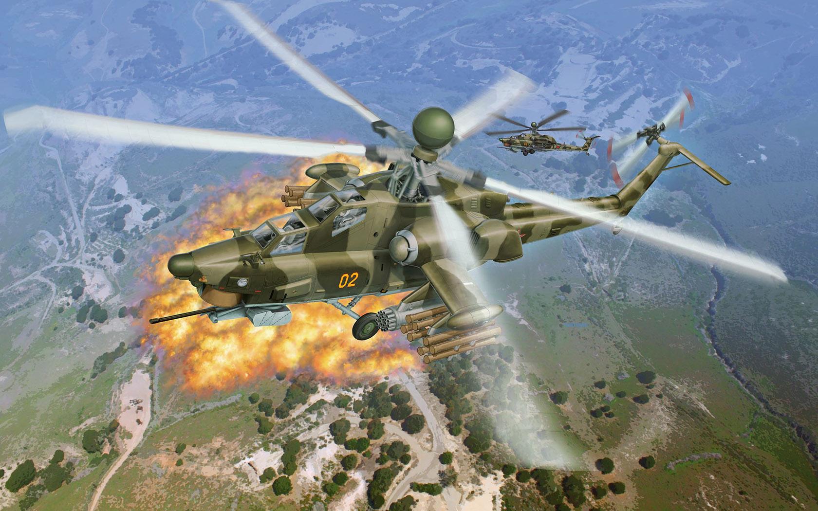 рисунок вертолет Ми-28