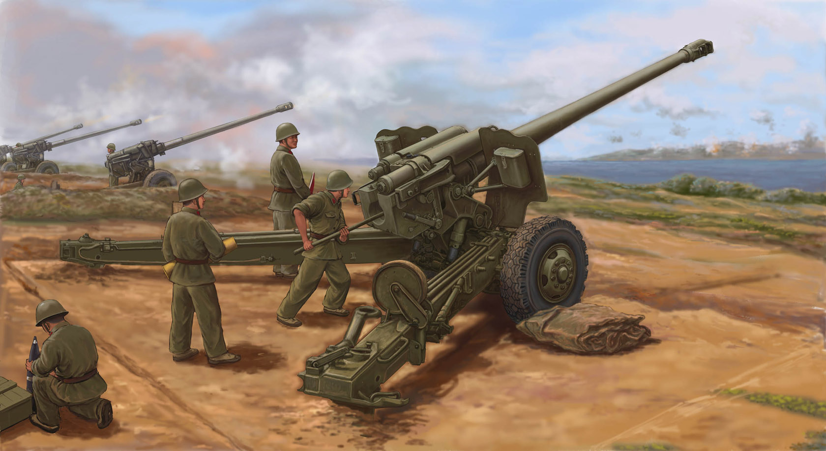 рисунок PLA Type 59 130mm towed Field Gun