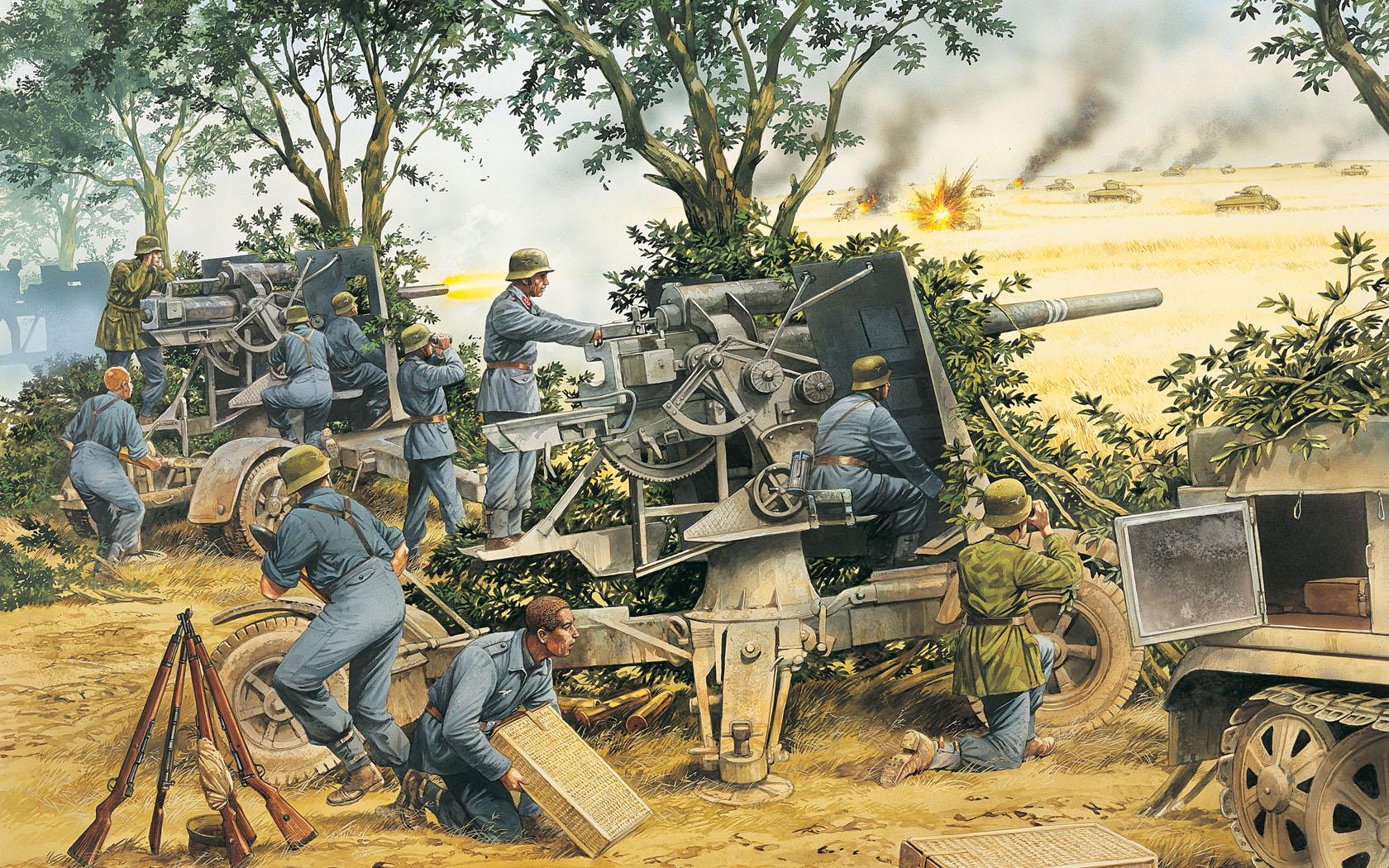 рисунок 88-мм зенитные пушки FlaK