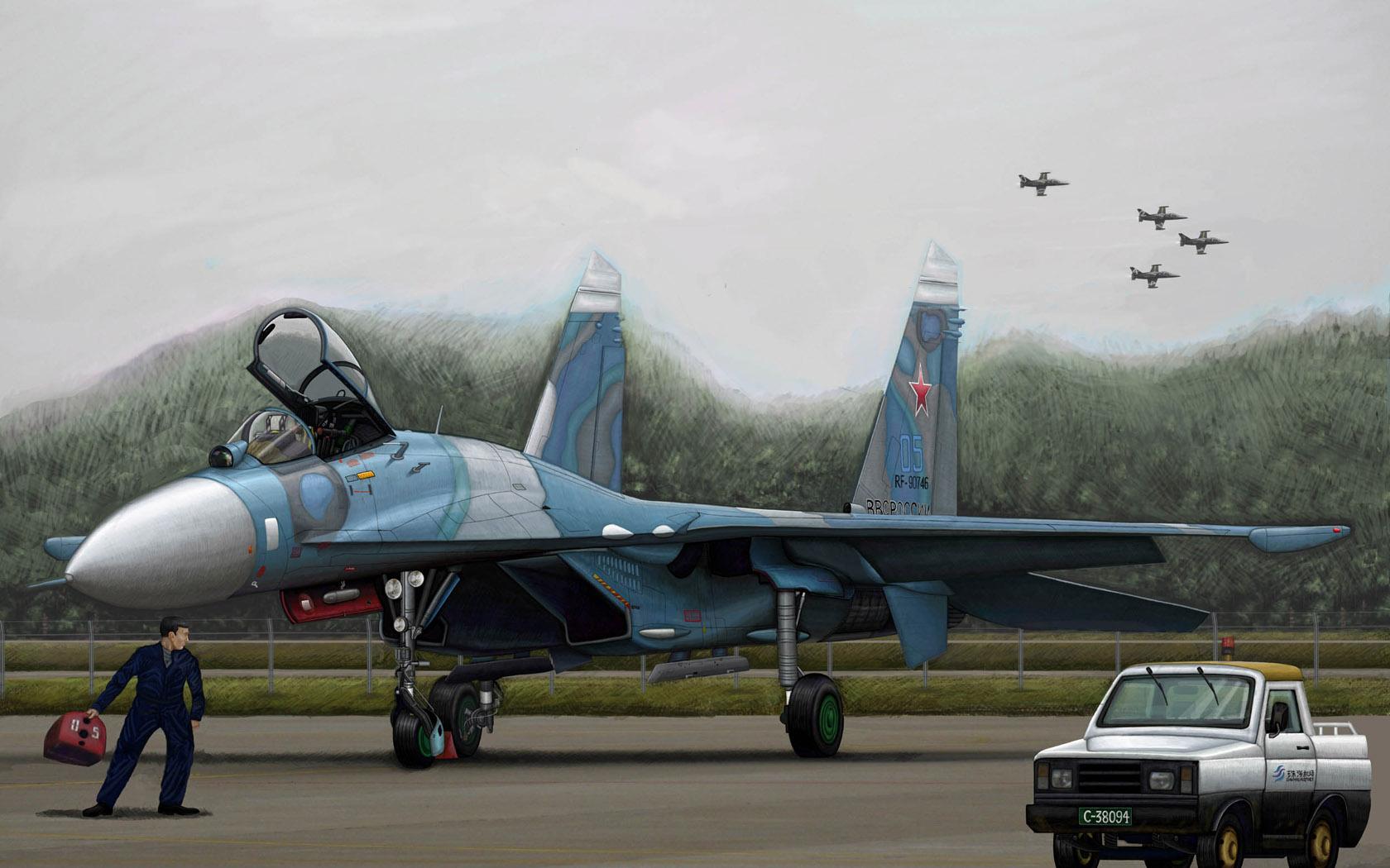 рисунок Russian Su-27 Flanker B