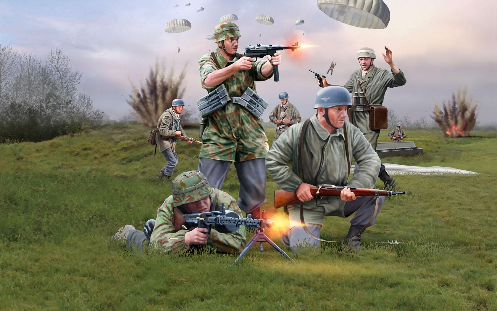 рисунок немецкие парашютисты