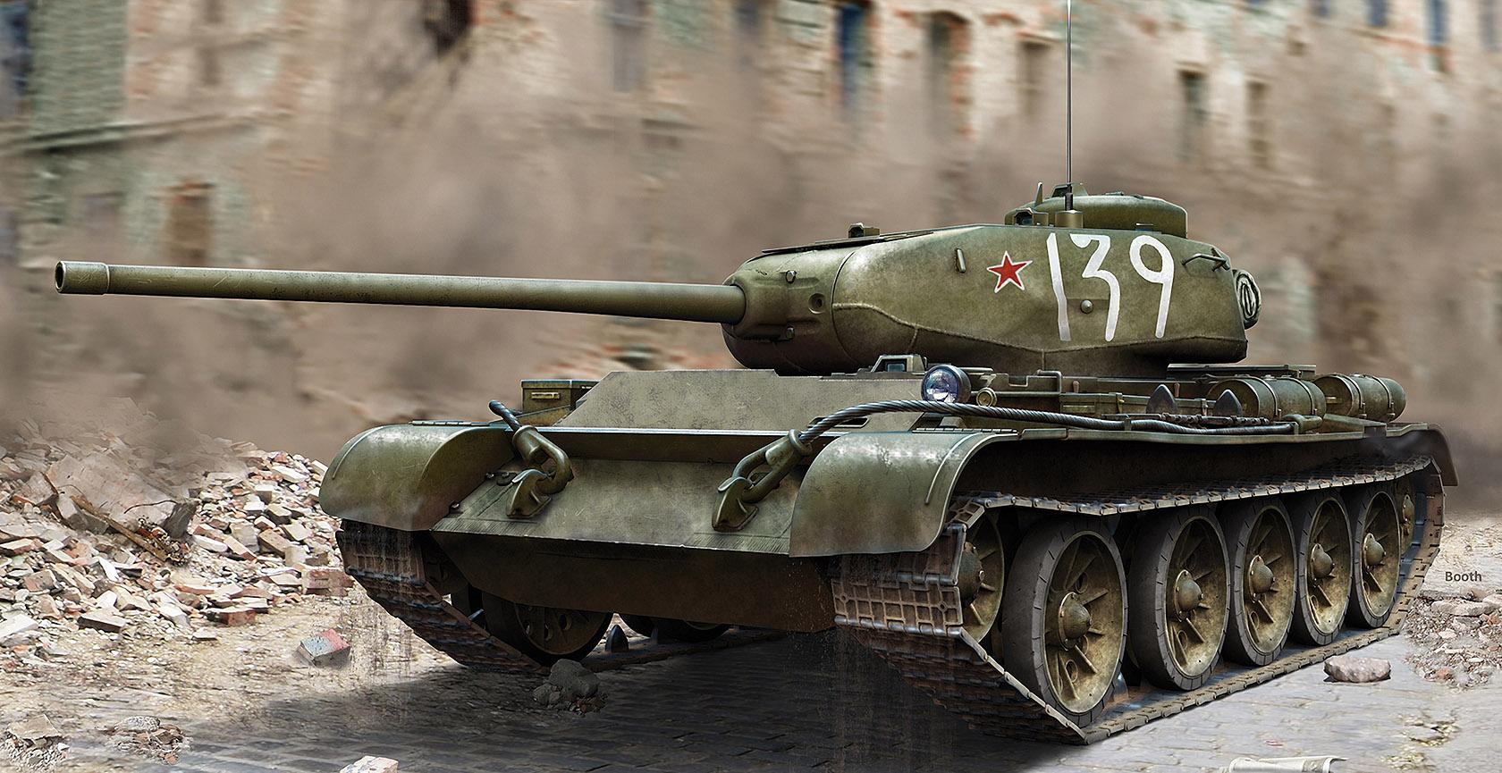 рисунок средний танк Т-44