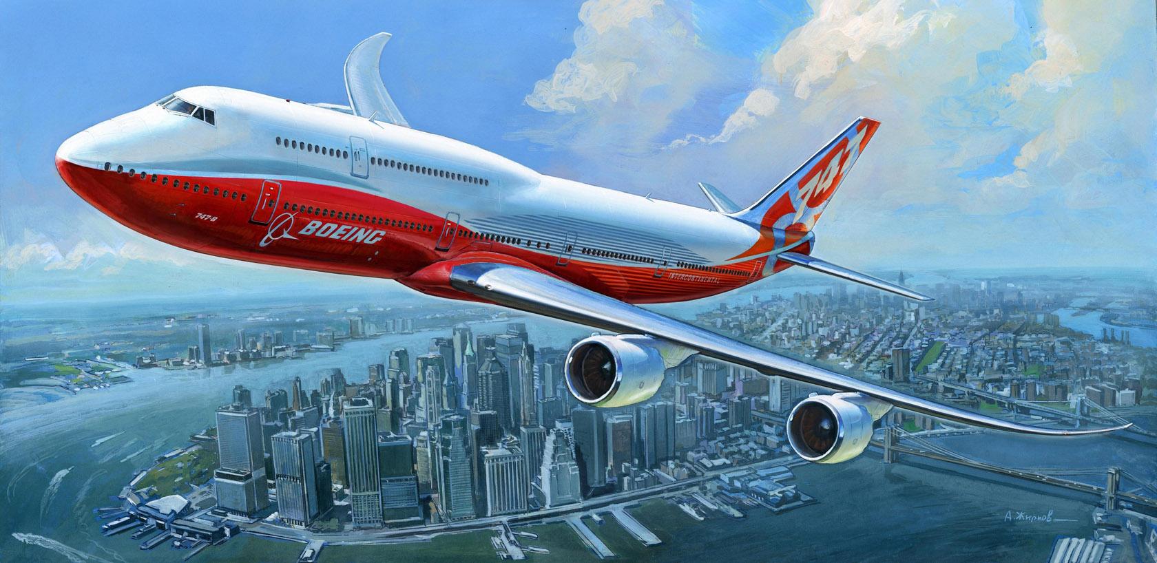 рисунок Пассажирский авиалайнер Боинг 747-8