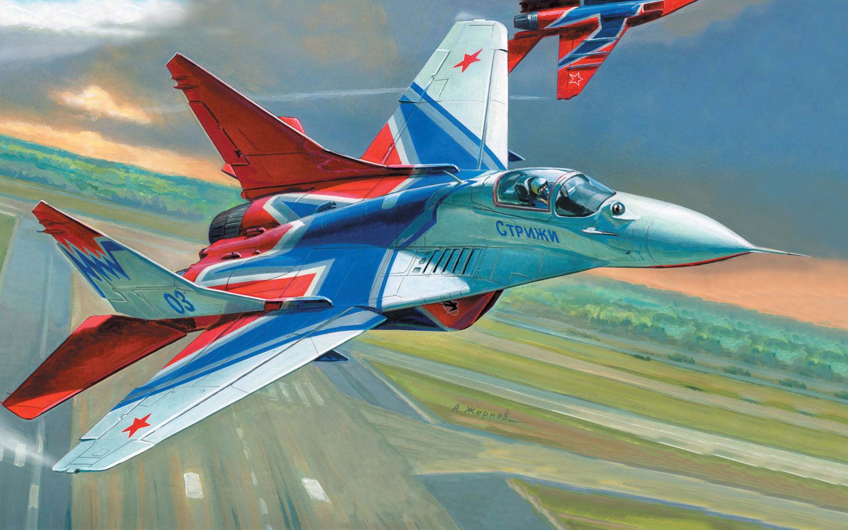 рисунок МиГ-29 пилотажной группы Стрижи