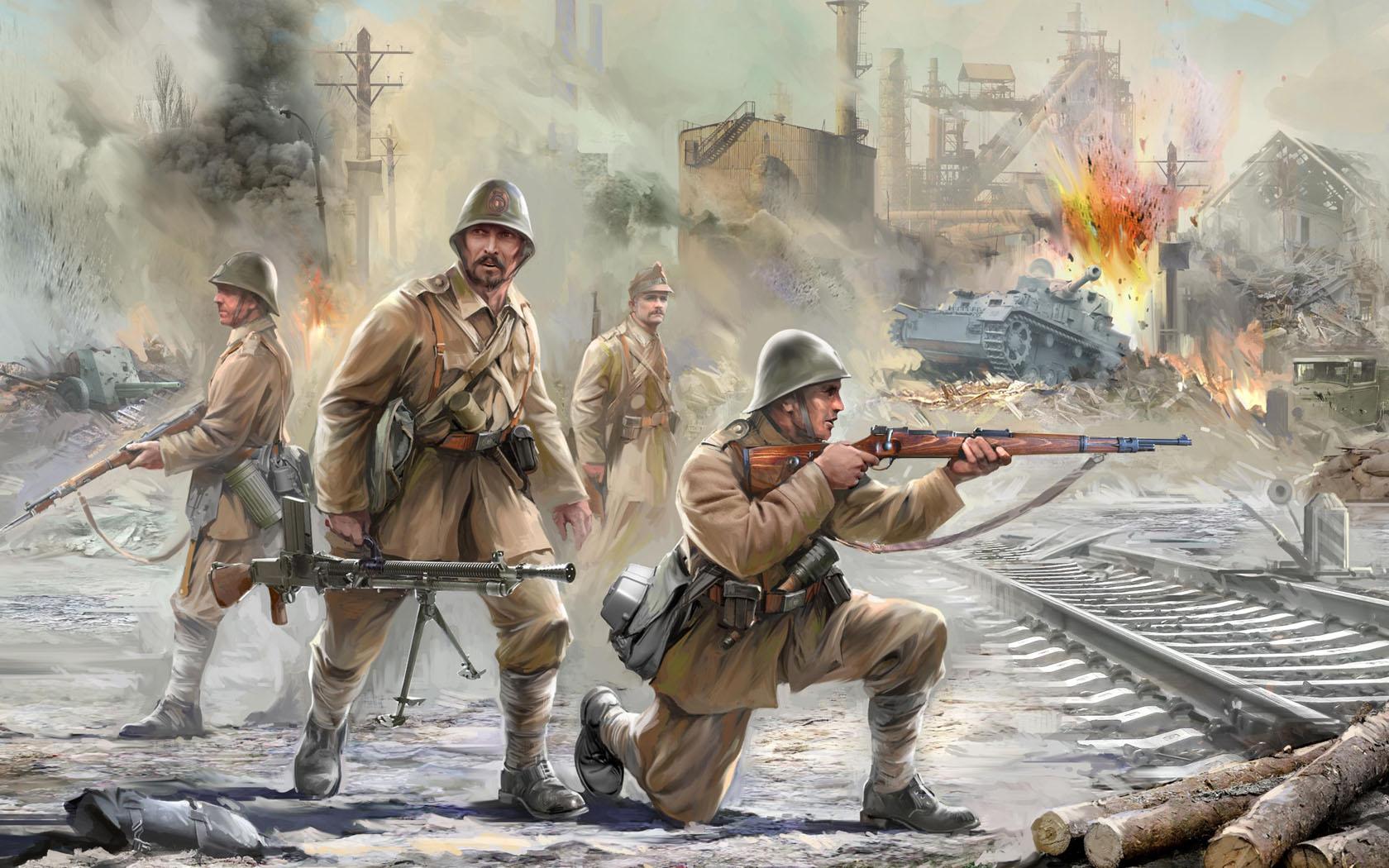 рисунок Румынская пехота