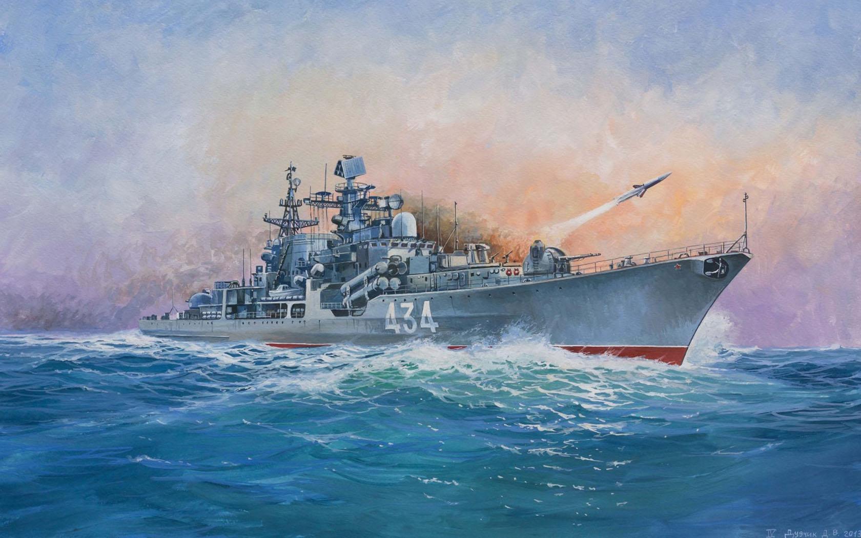 рисунок эсминец Современный