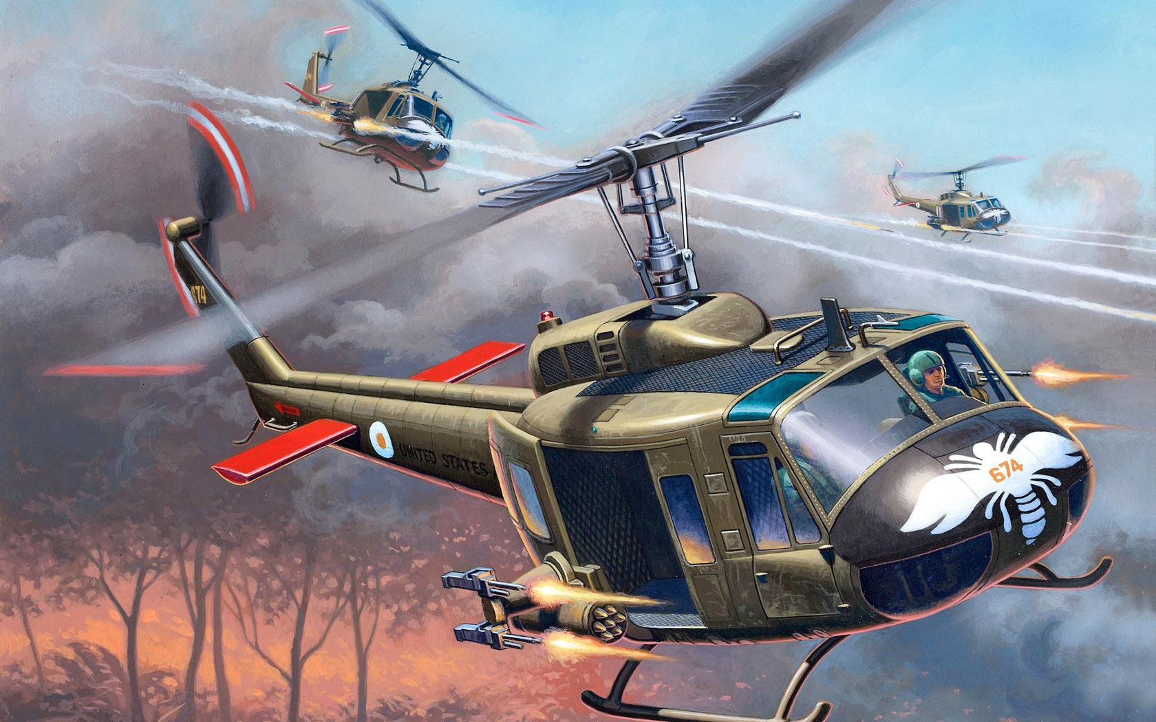 рисунок Bell UH-1H Gunship