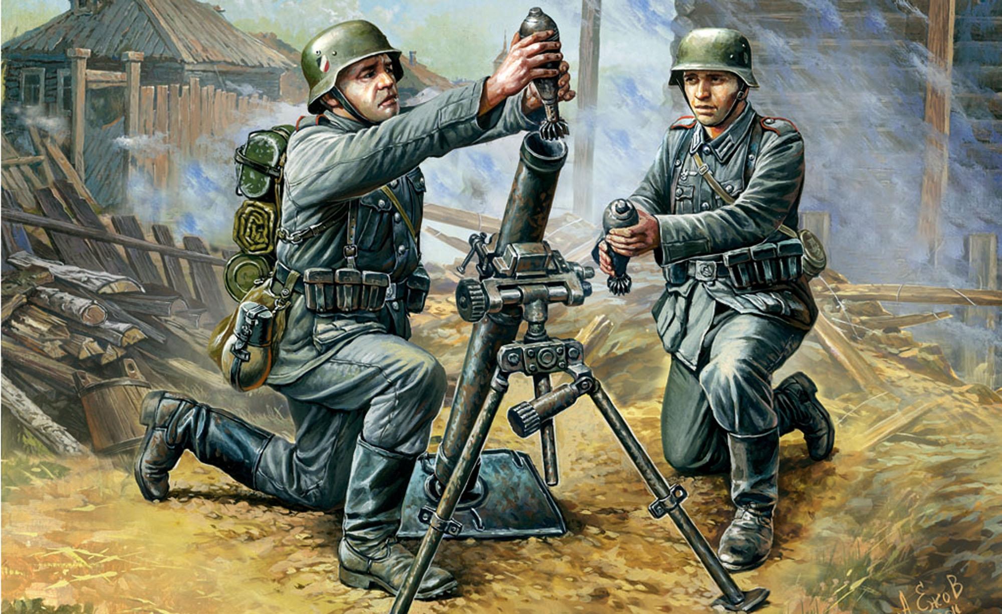 рисунок Немецкий 81-мм миномет с расчетом
