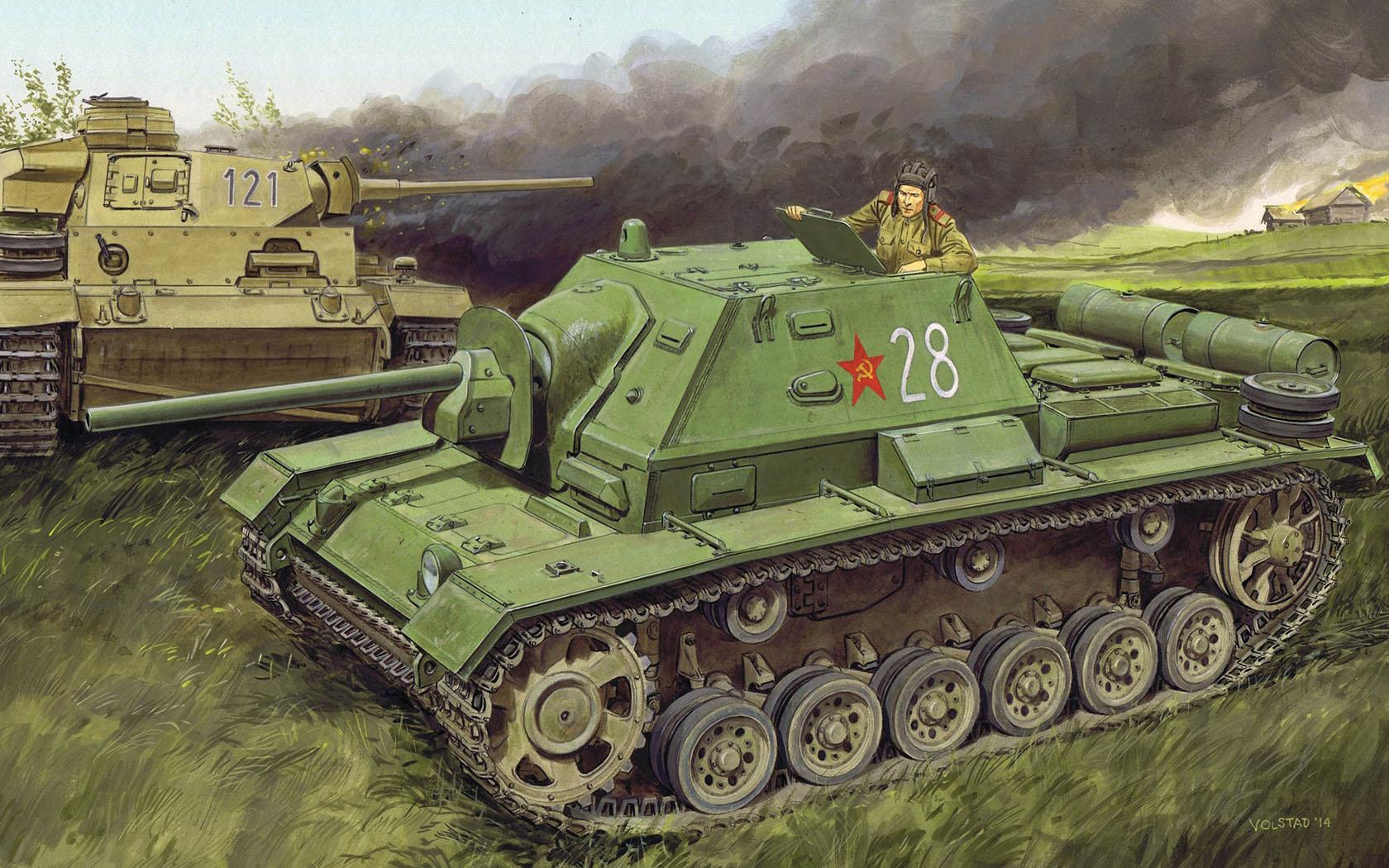 рисунок Soviet SU-76i self-propelled gun