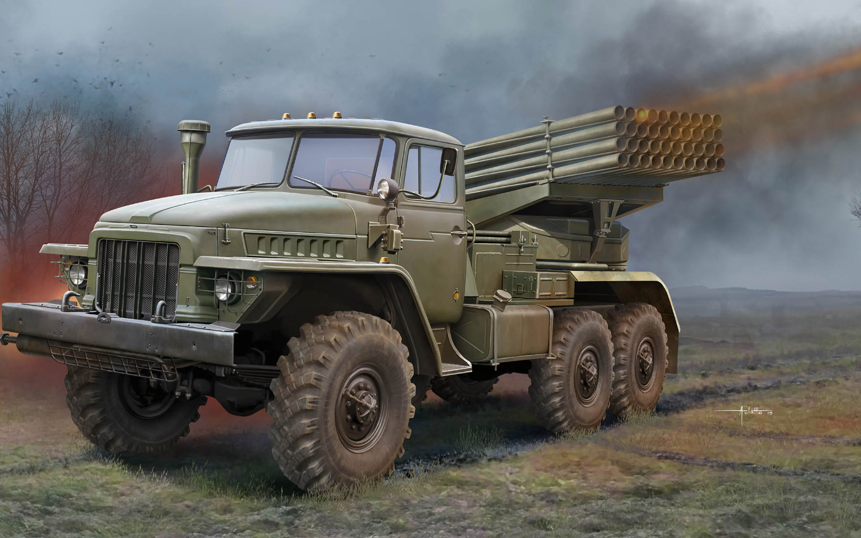 рисунок БМ-21 на базе Урал-375Д