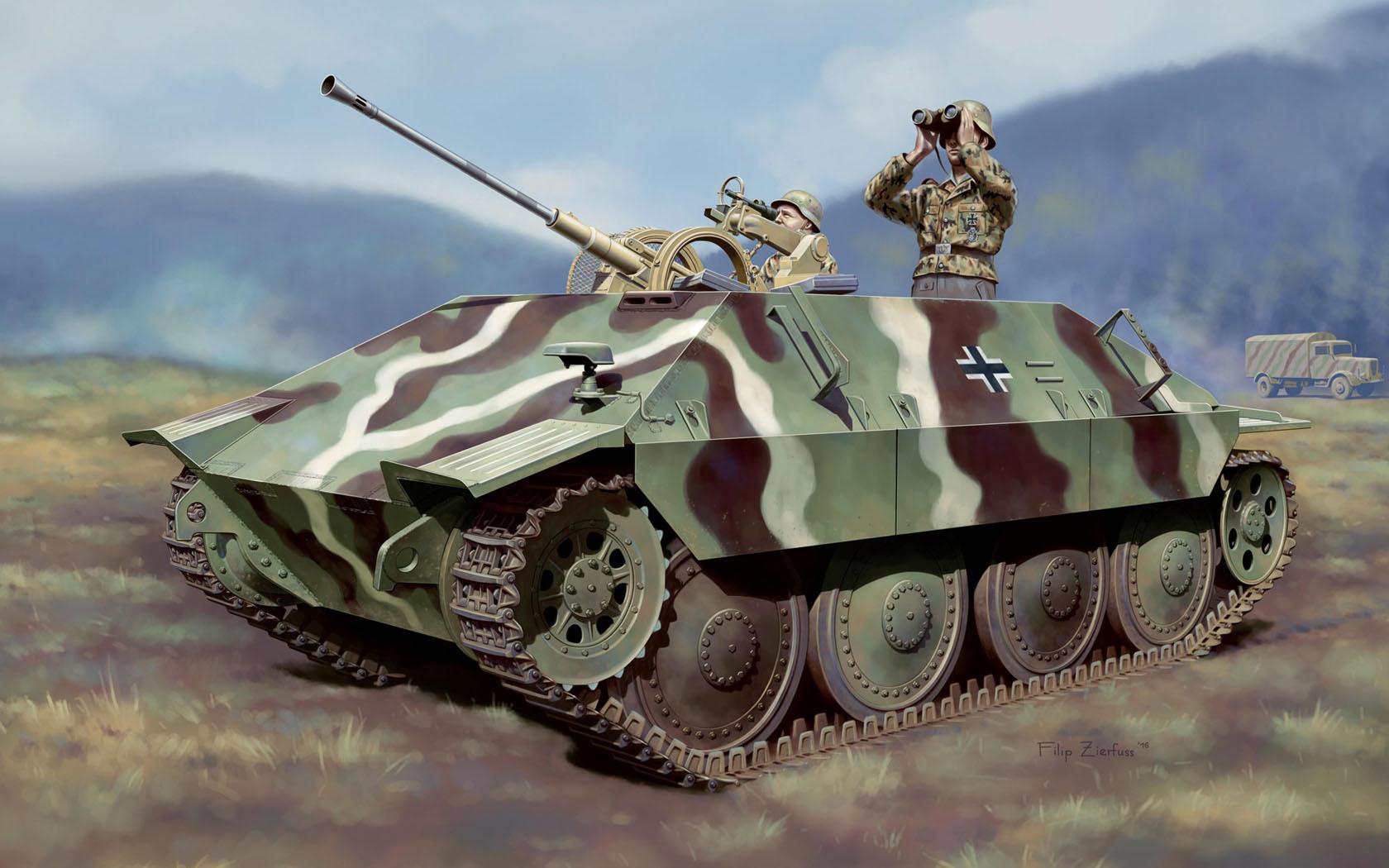 рисунок Jagdpanzer 38 mit 2cm FlaK 38