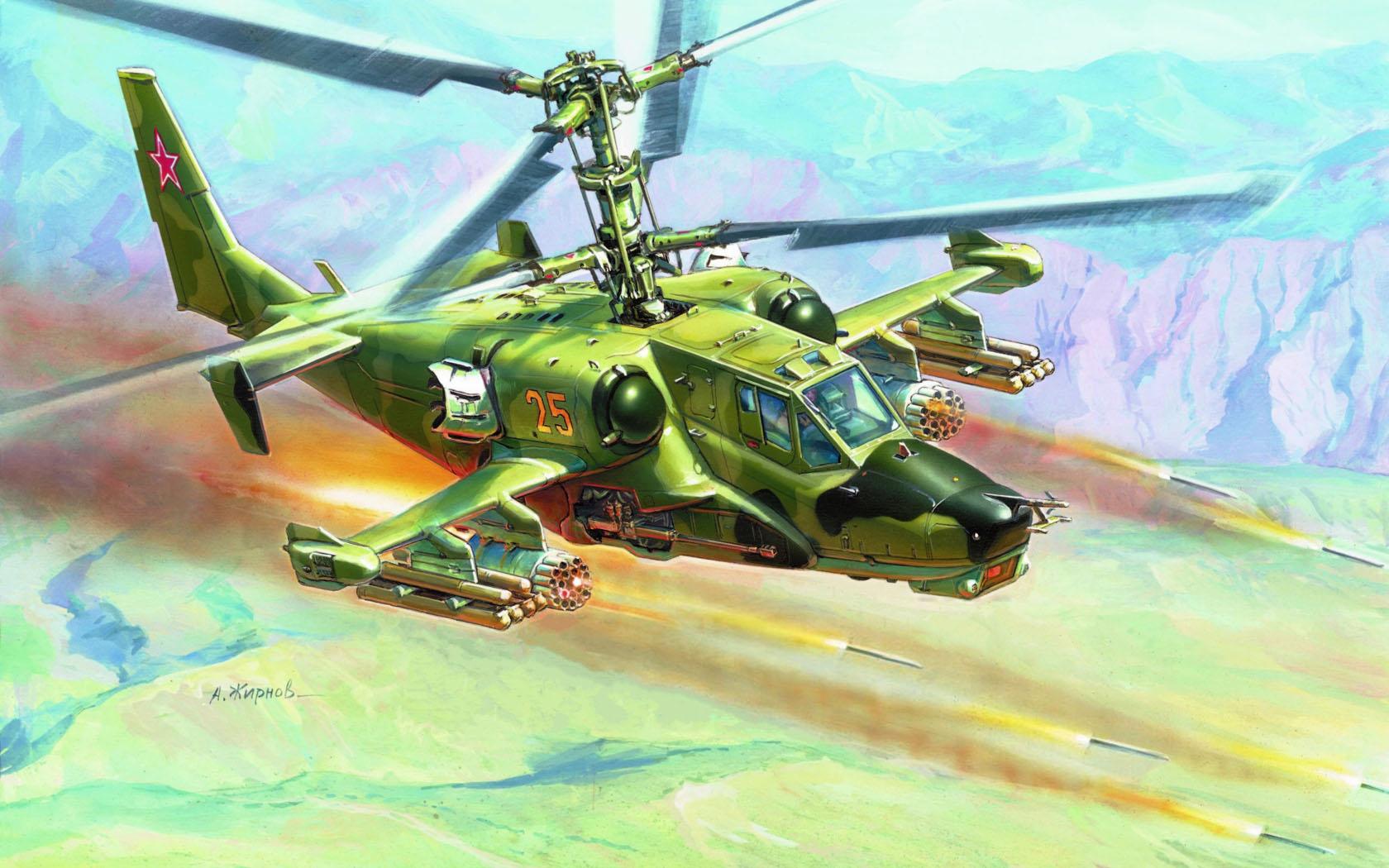 рисунок Ударный вертолет Ка-50