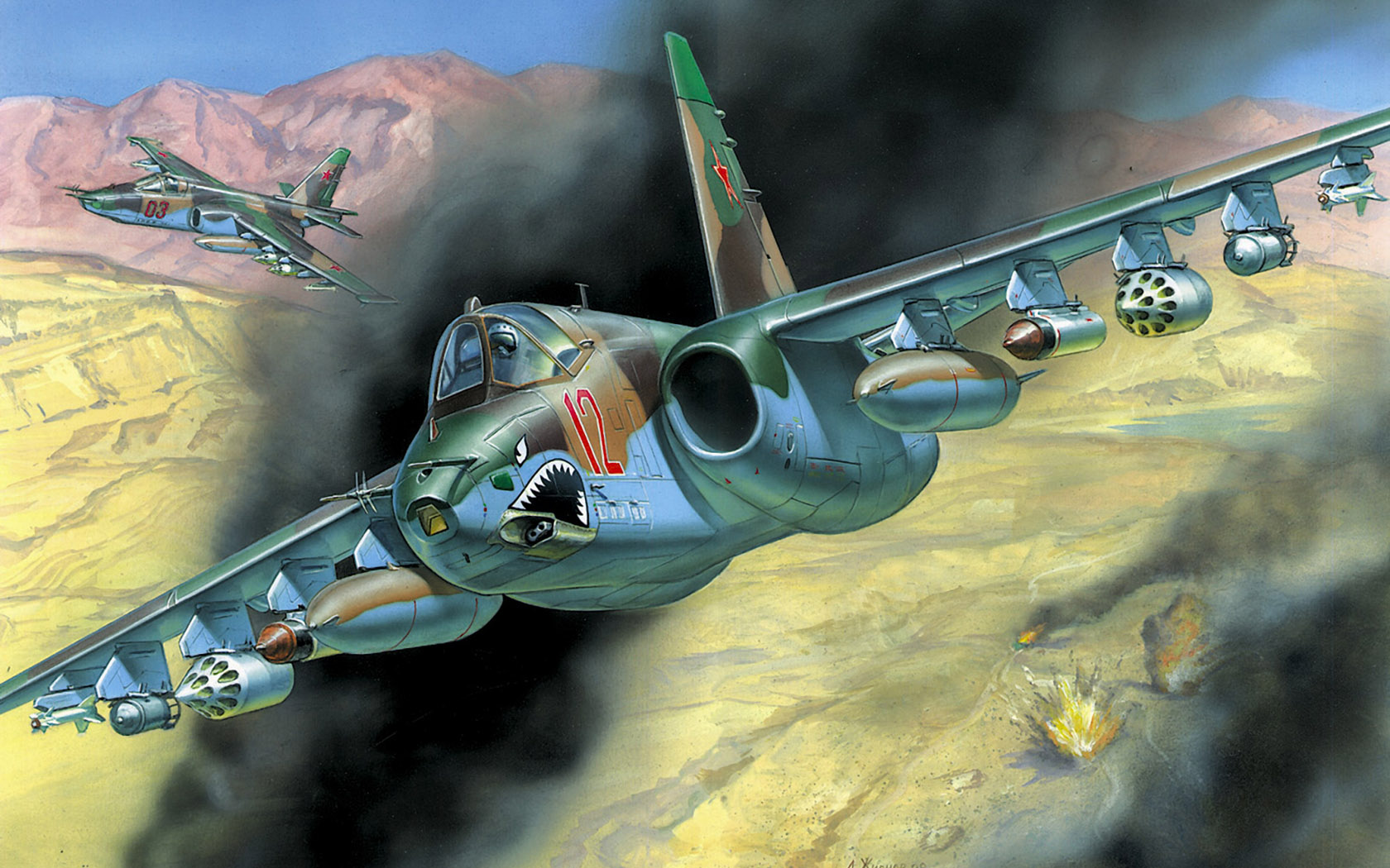 рисунок штурмовик Су-25