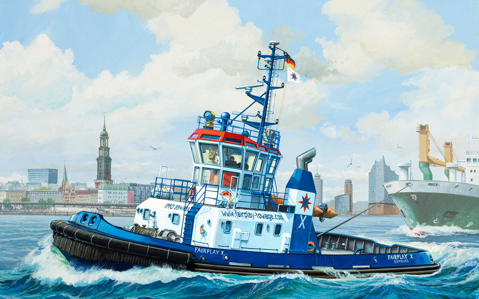 рисунок Harbour Tug Boat Fairplay