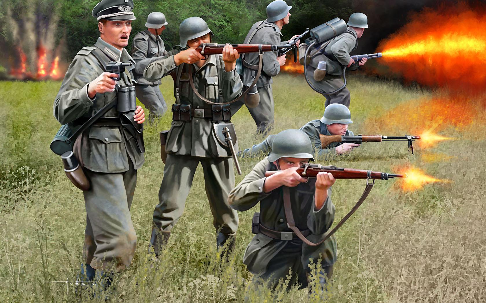 рисунок немецкая пехота Второй мировой