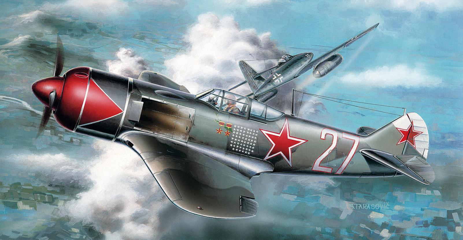 рисунок Ла-7 в бою с Ме-262
