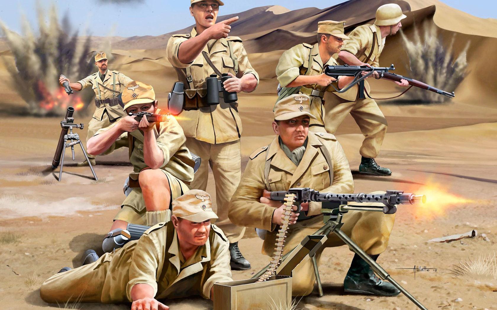 рисунок пехота Африканского корпуса