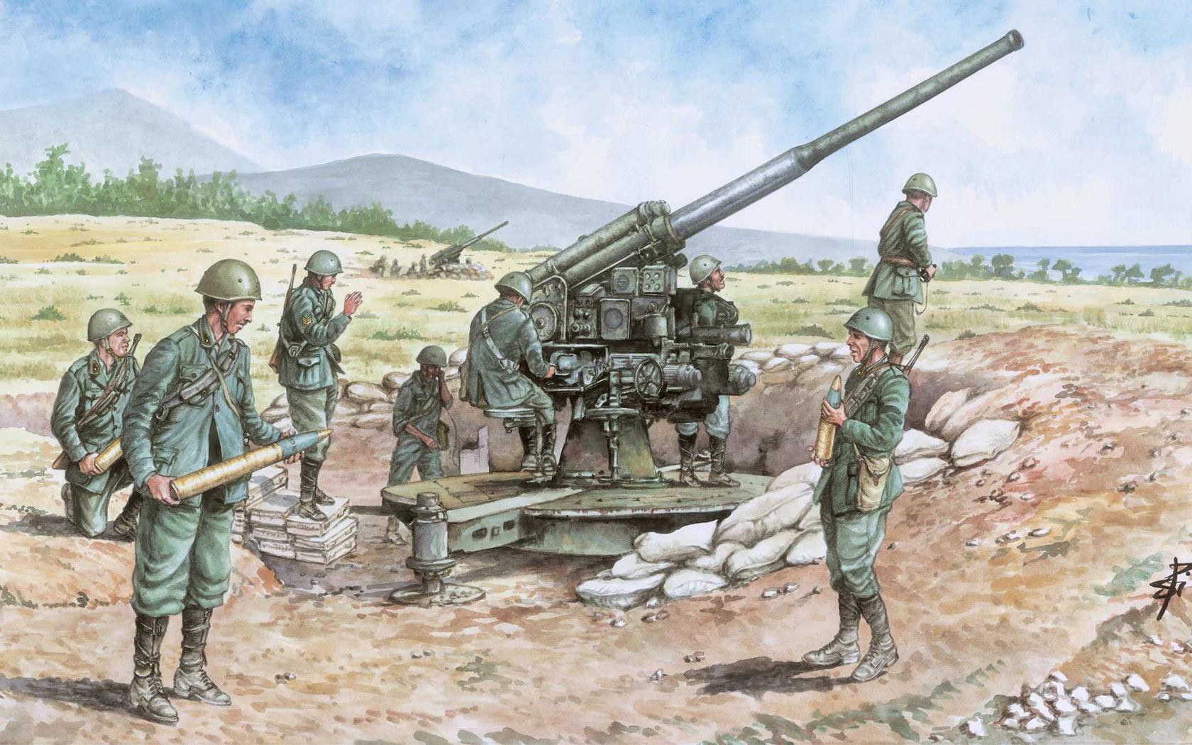 рисунок итальянское орудие 90/53
