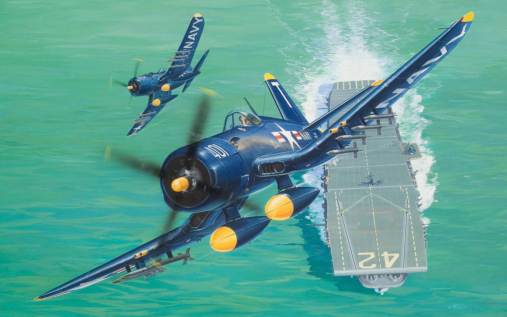 рисунок F4U-5 взлетает с авианосца