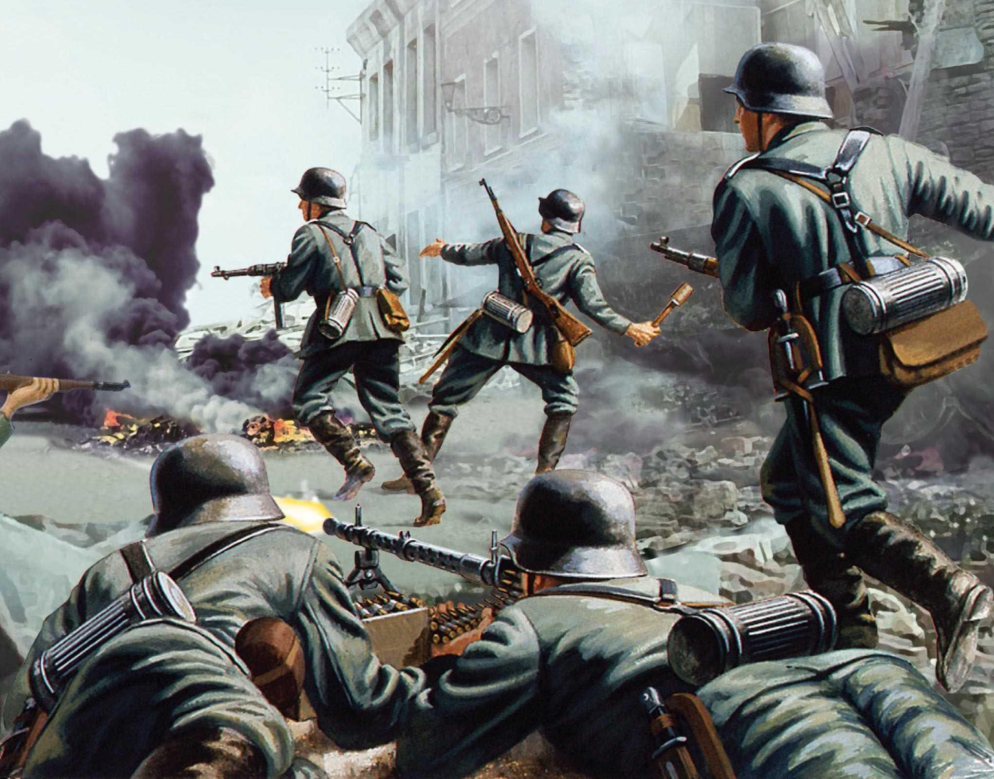 рисунок немецкая пехота в уличном бою