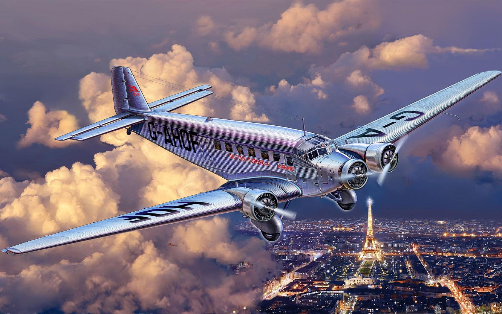 рисунок Ju-52 над Парижем