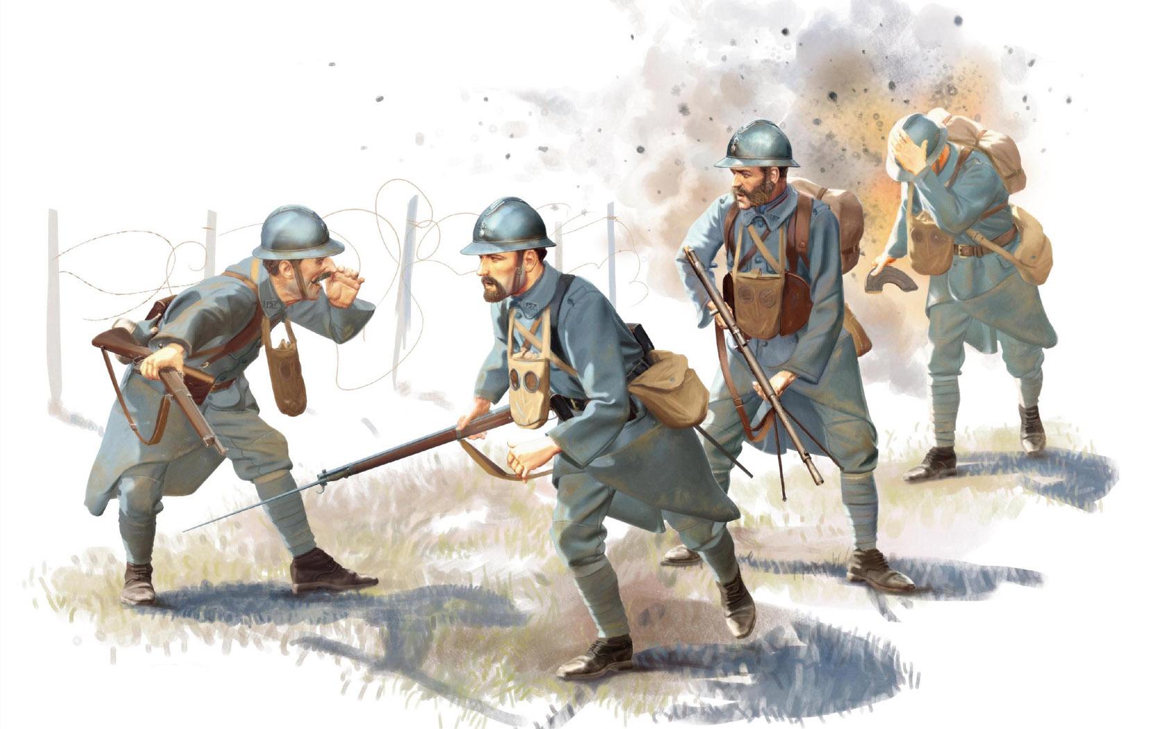 рисунок французская пехота Первой Мировой