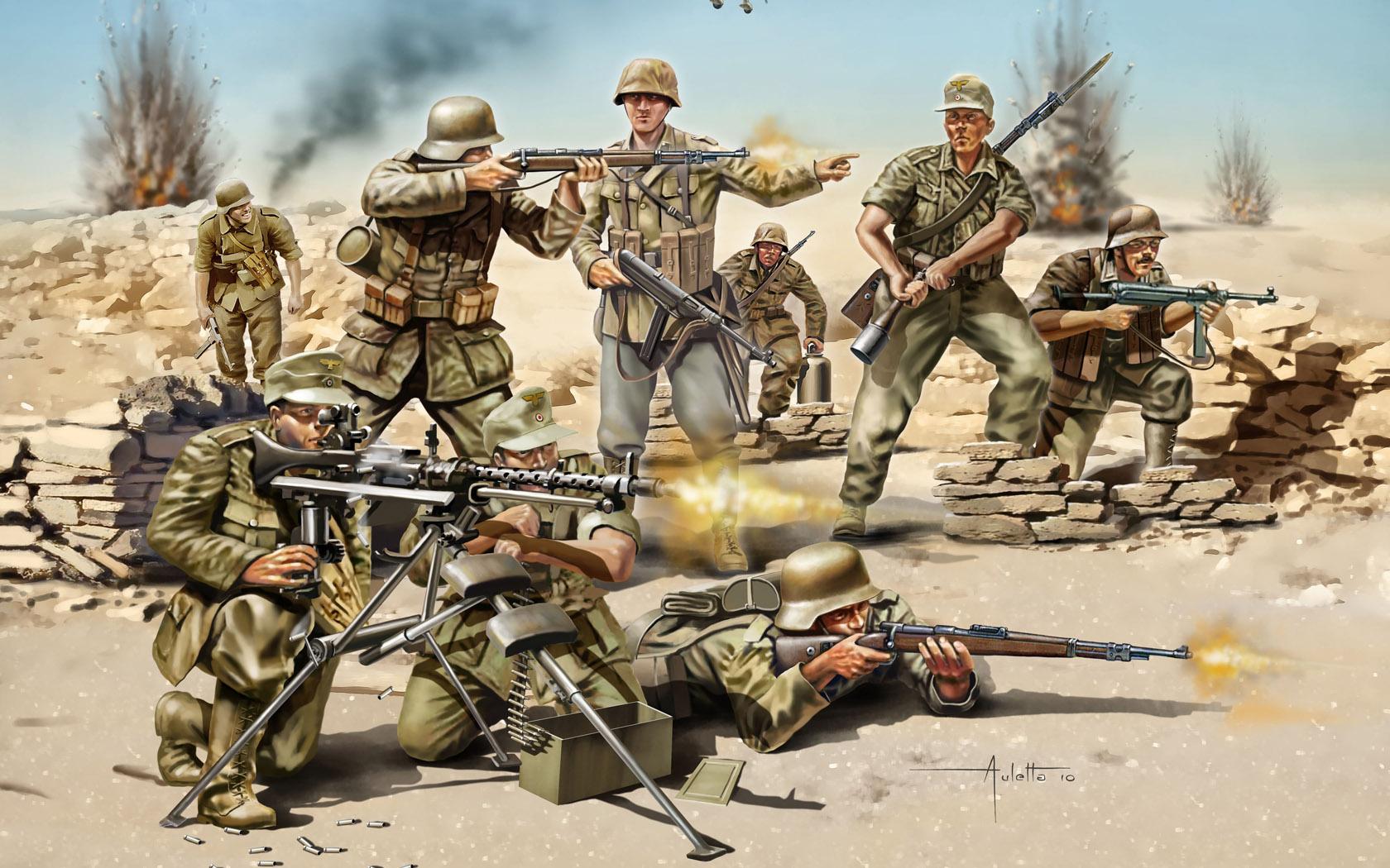 рисунок немецкие солдаты в Северной Африке