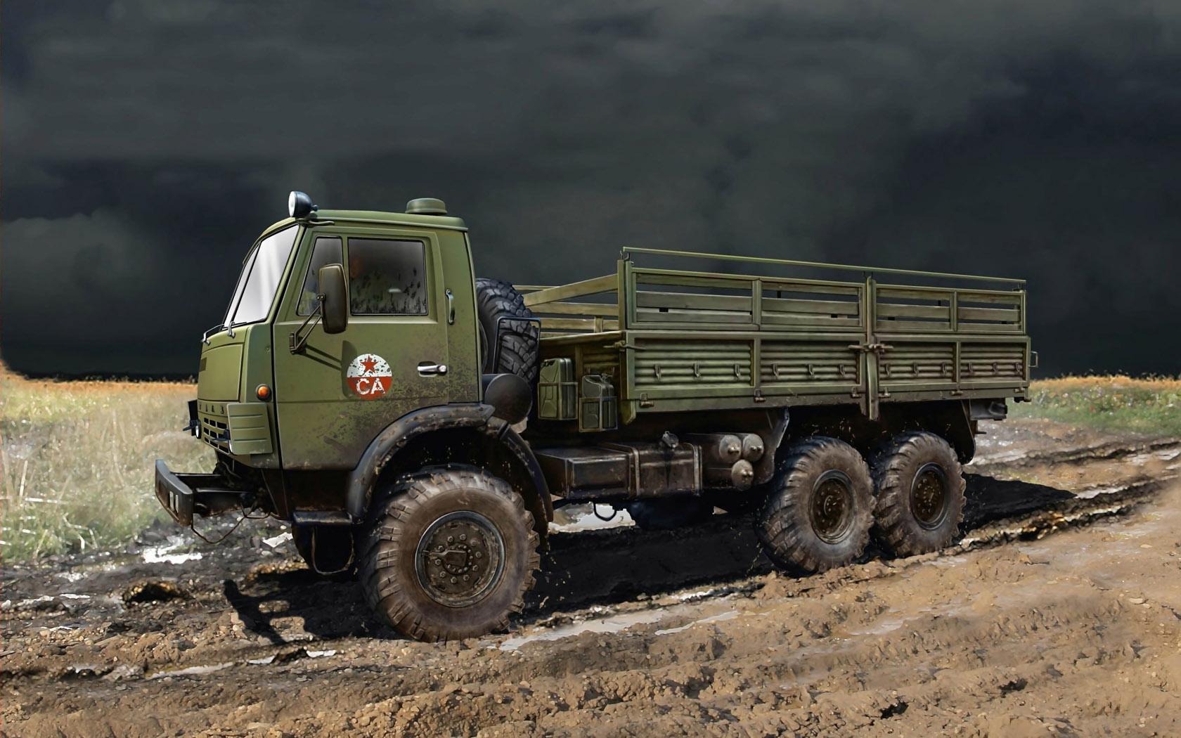 рисунок армейский КАМАЗ