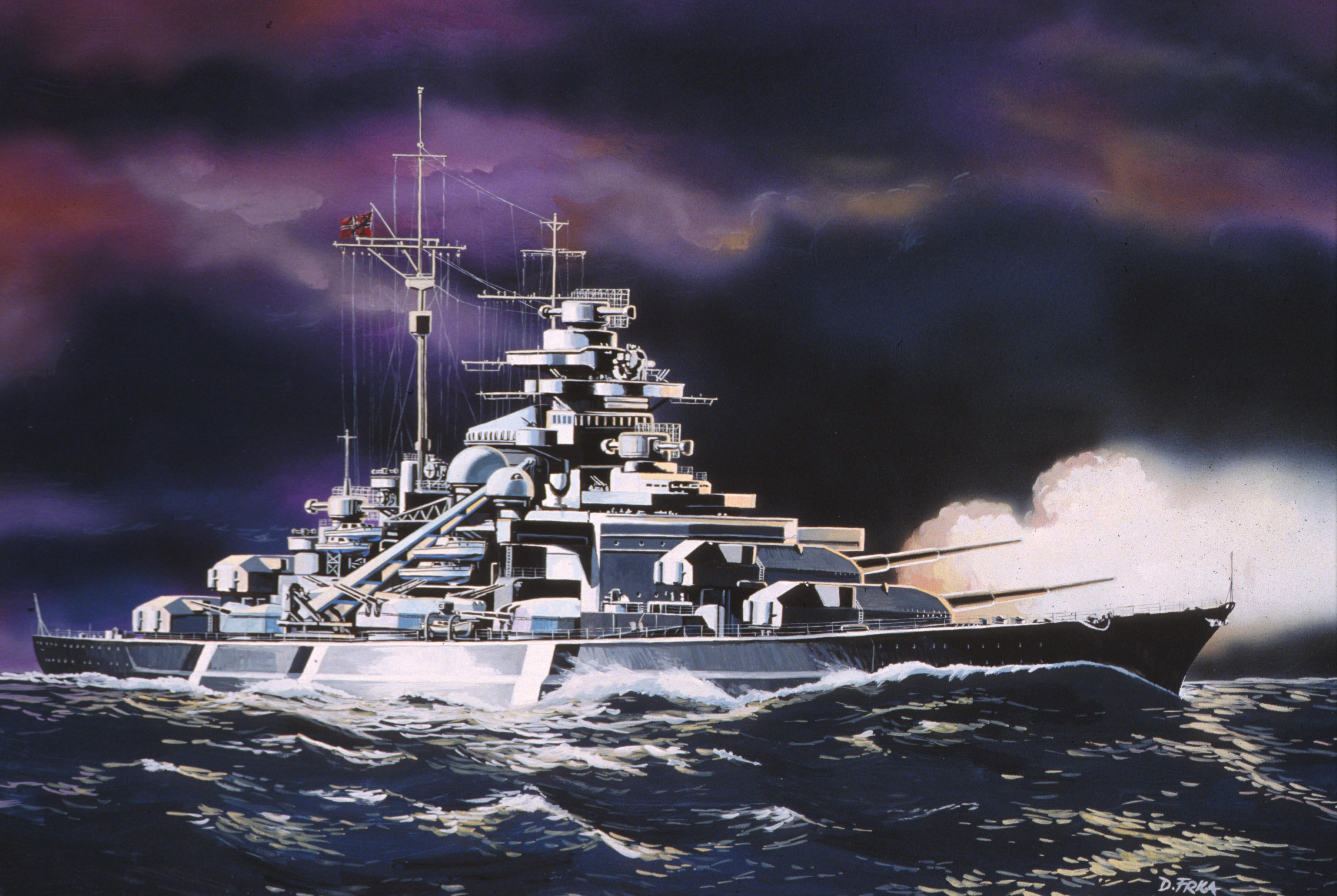 рисунок немецкий линкор Бисмарк