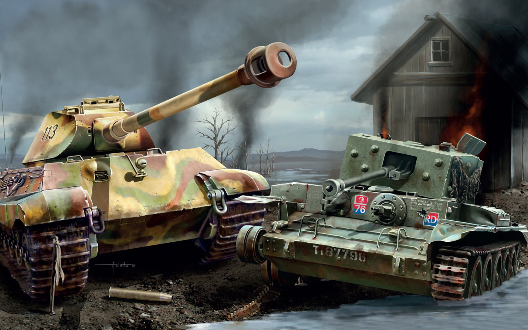 рисунок King Tiger VS Cromwell