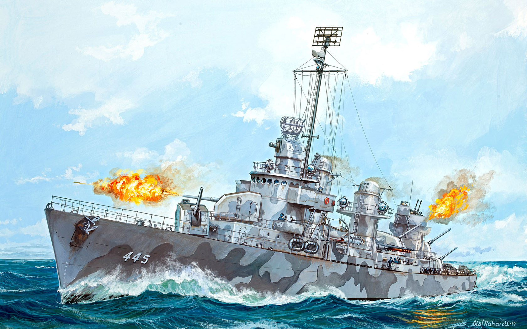 рисунок USS Fletcher DD-445