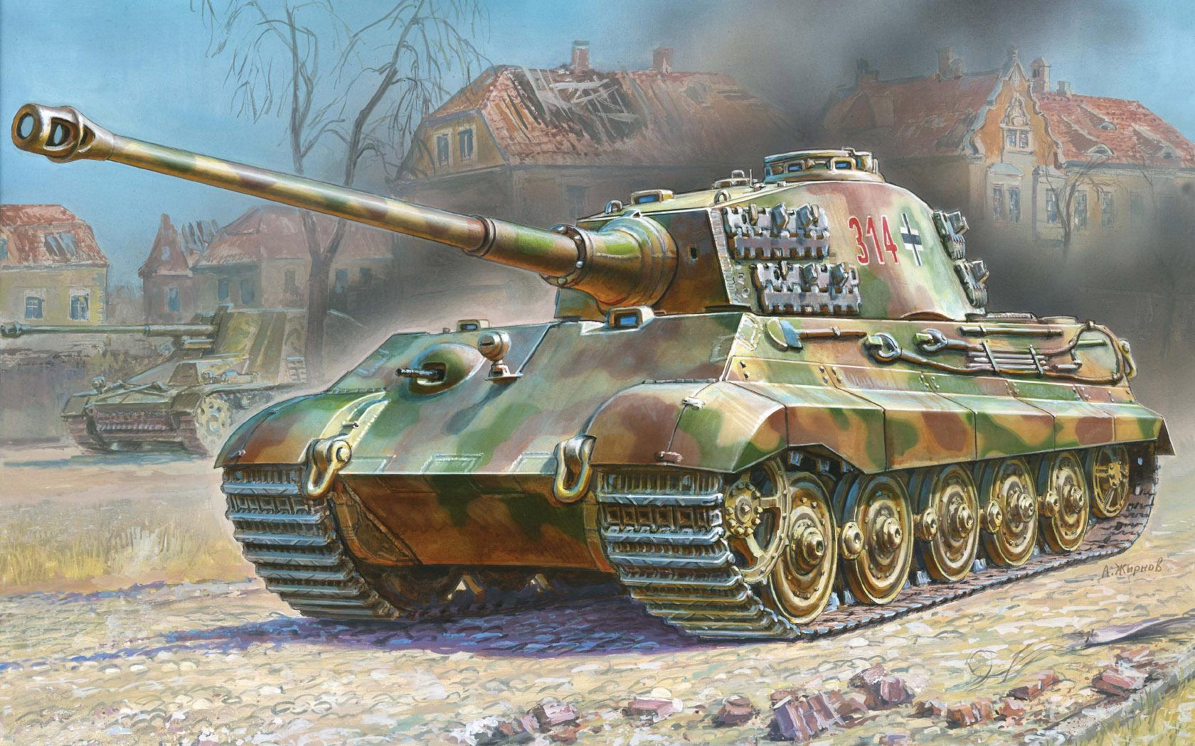 рисунок «Королевский тигр» с башней Хеншель