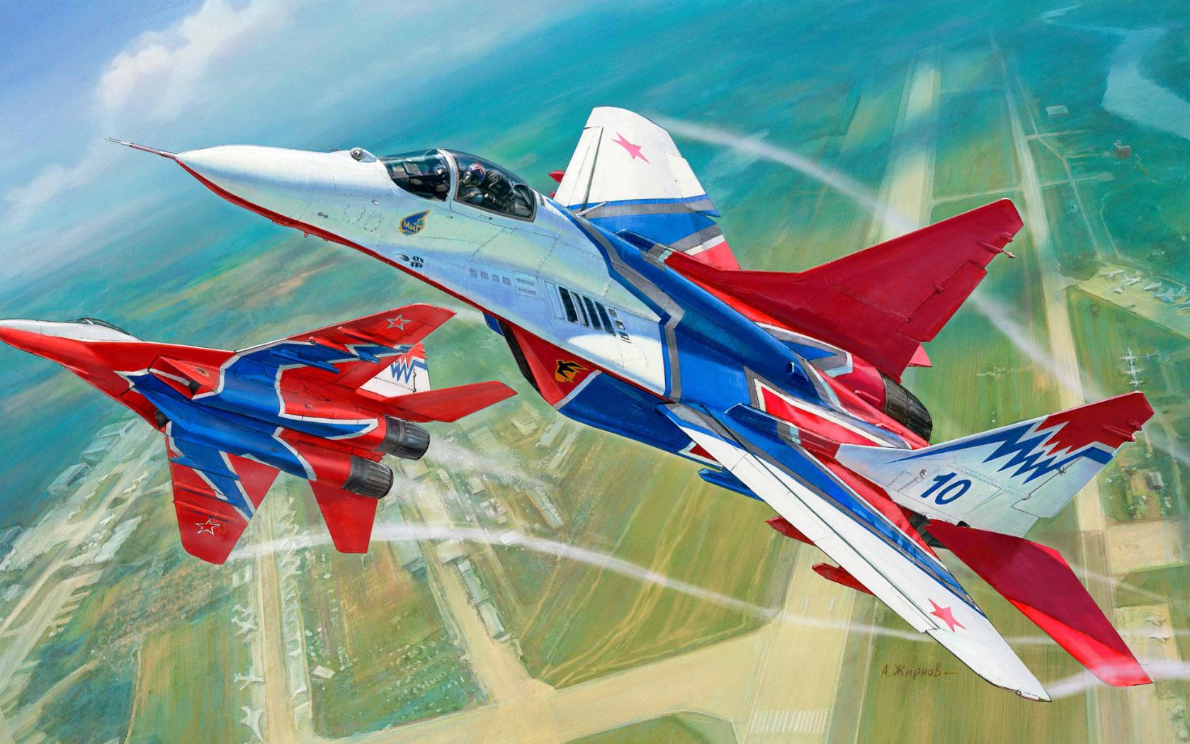 """рисунок МиГ-29 пилотажной группы """"Стрижи"""""""