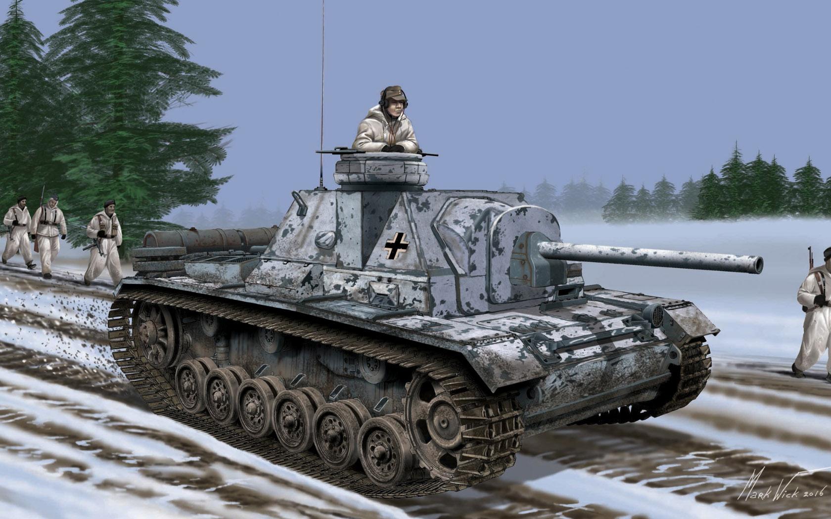 рисунок German SU-76i w/Cupola