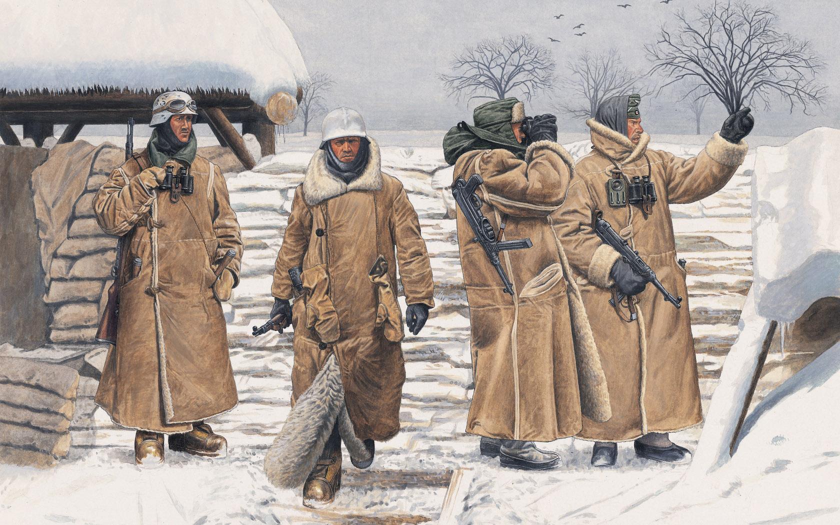 рисунок Немецкая пехота в тулупах