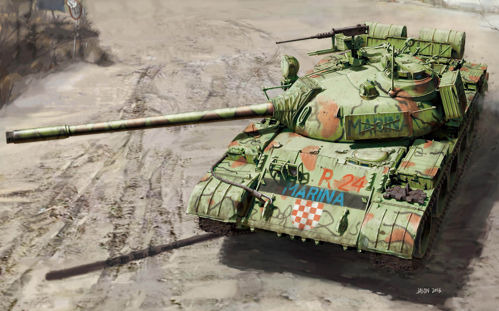 рисунок Russian Medium Tank T-55A