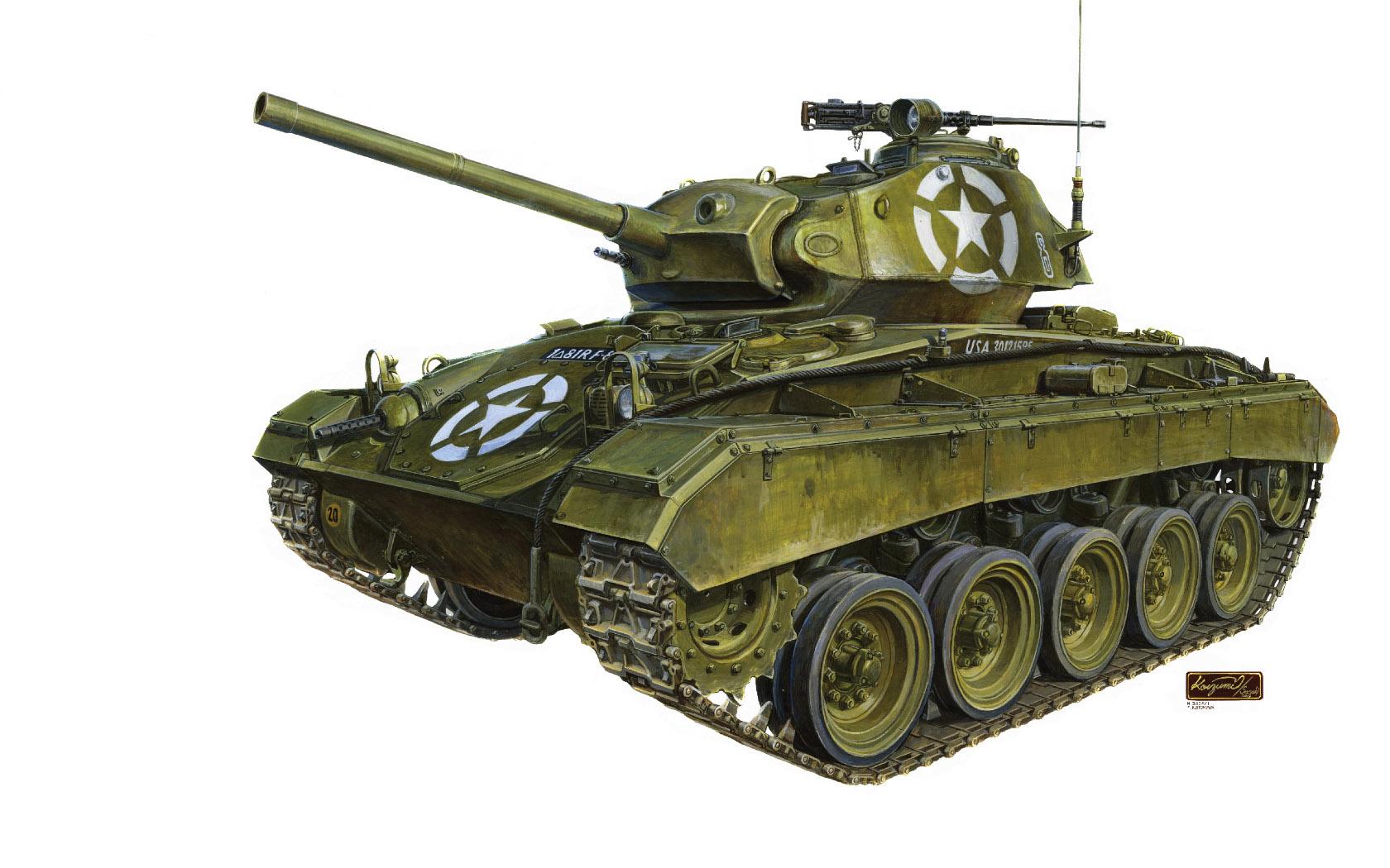 рисунок US WWII M24 Chaffee Light Tank