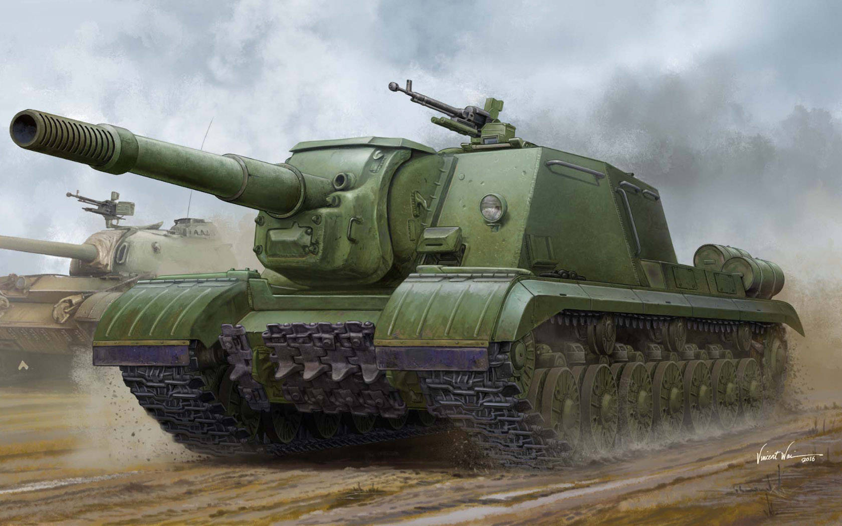 рисунок Soviet JSU-152K Armored Self-Prope
