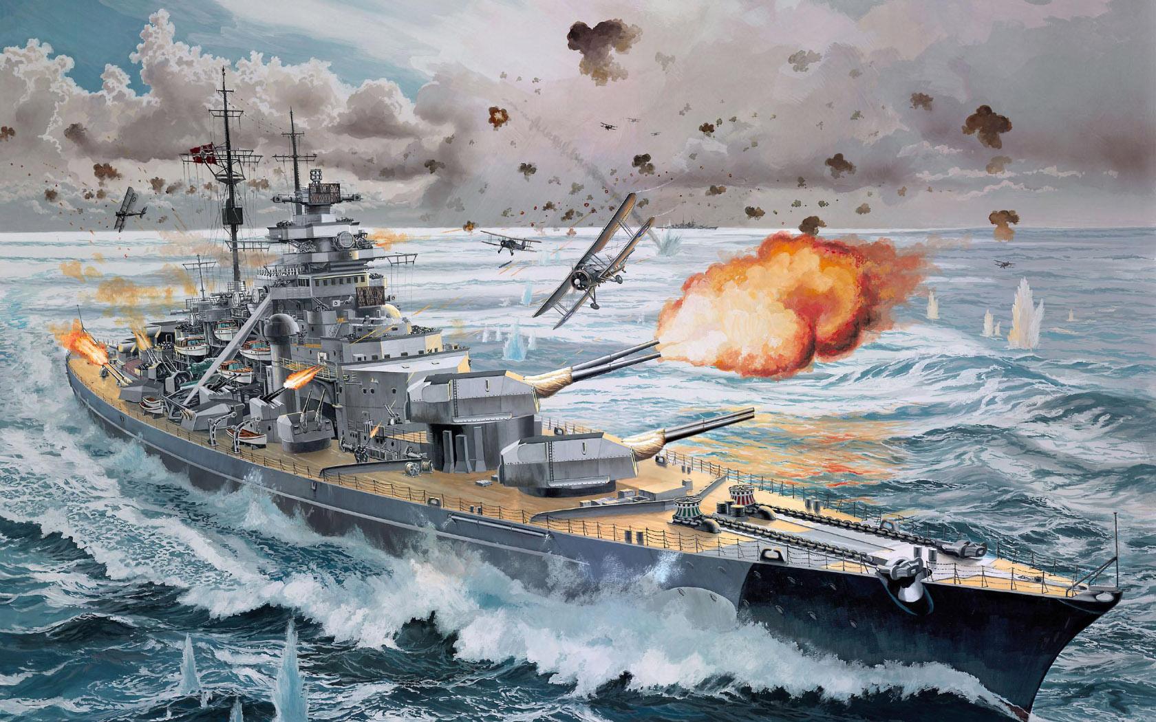 рисунок линкор Бисмарк