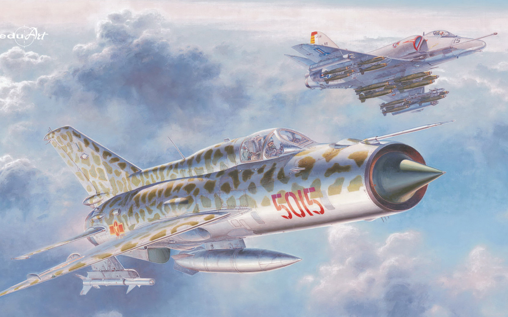 "рисунок ""The Sound of Silence"" (MiG-21PFM vs A-4E)"