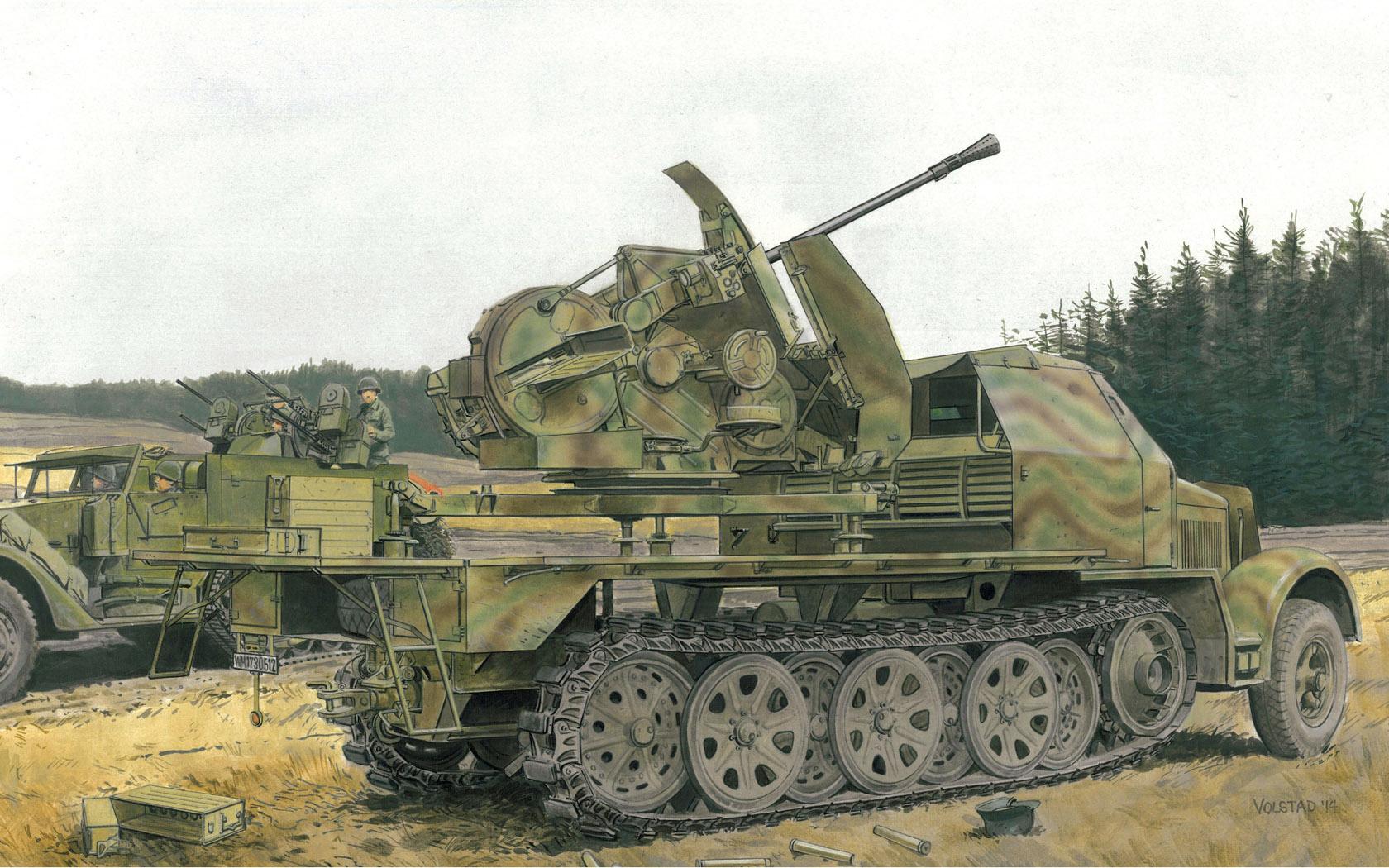 рисунок Sd.Kfz.7 with 3.7cm FlaK 43